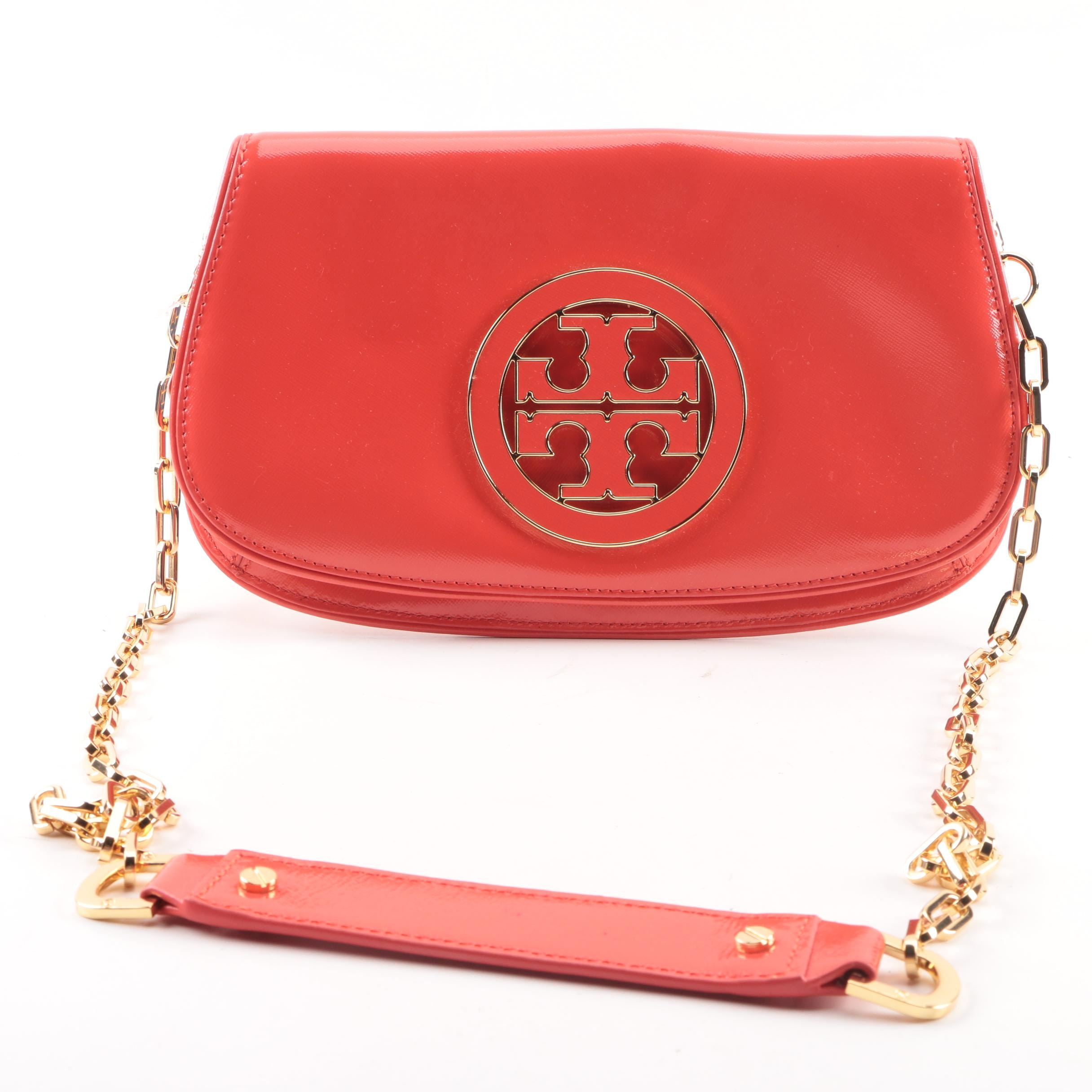 Tory Burch Robinson Poppy Red Logo Handbag