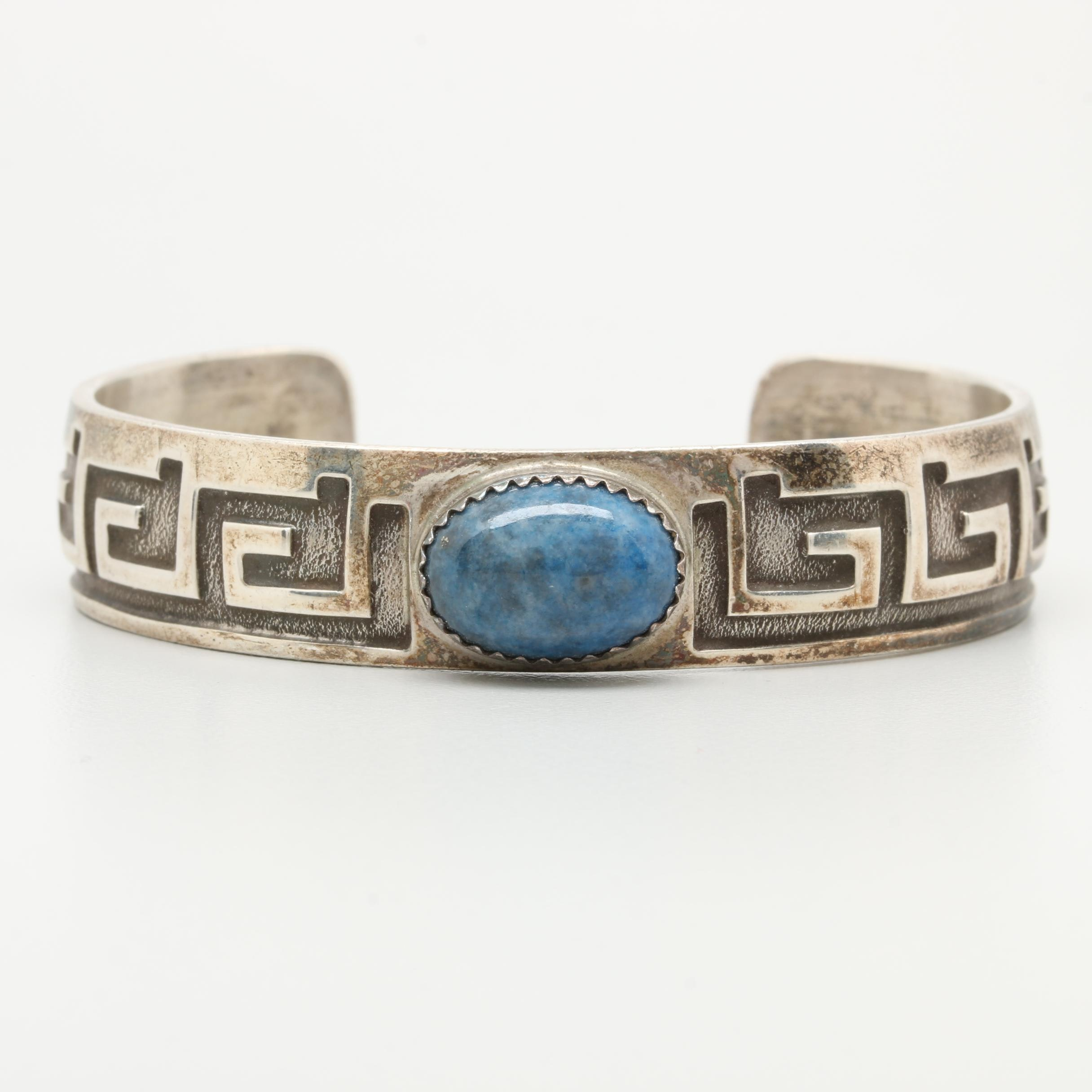 Wilton Carviso Jr. Navajo Diné Sterling Silver Denim Lapis Lazuli Cuff Bracelet