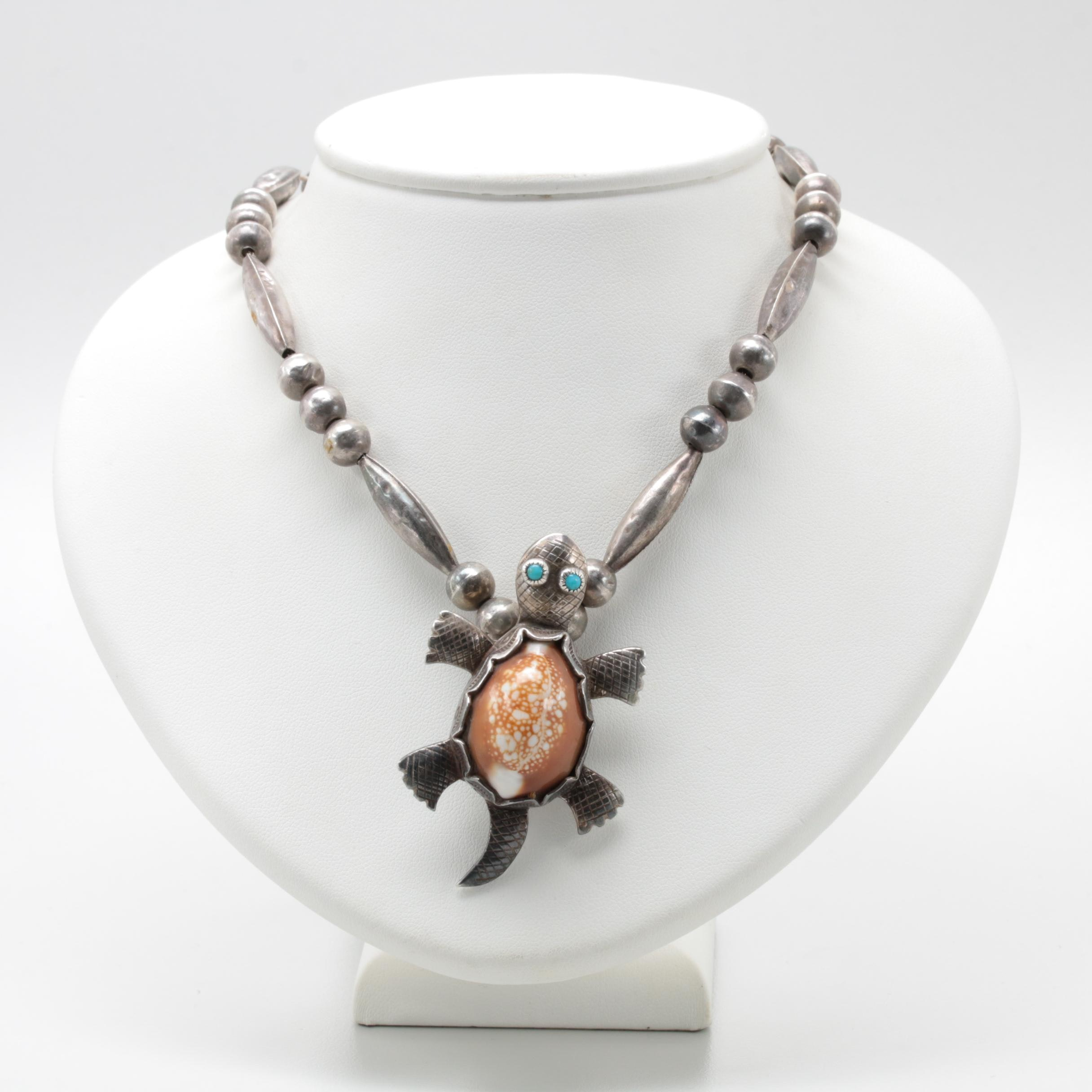 Sadie Randolph Navajo Diné Sterling Silver and 800 Silver Shell Necklace