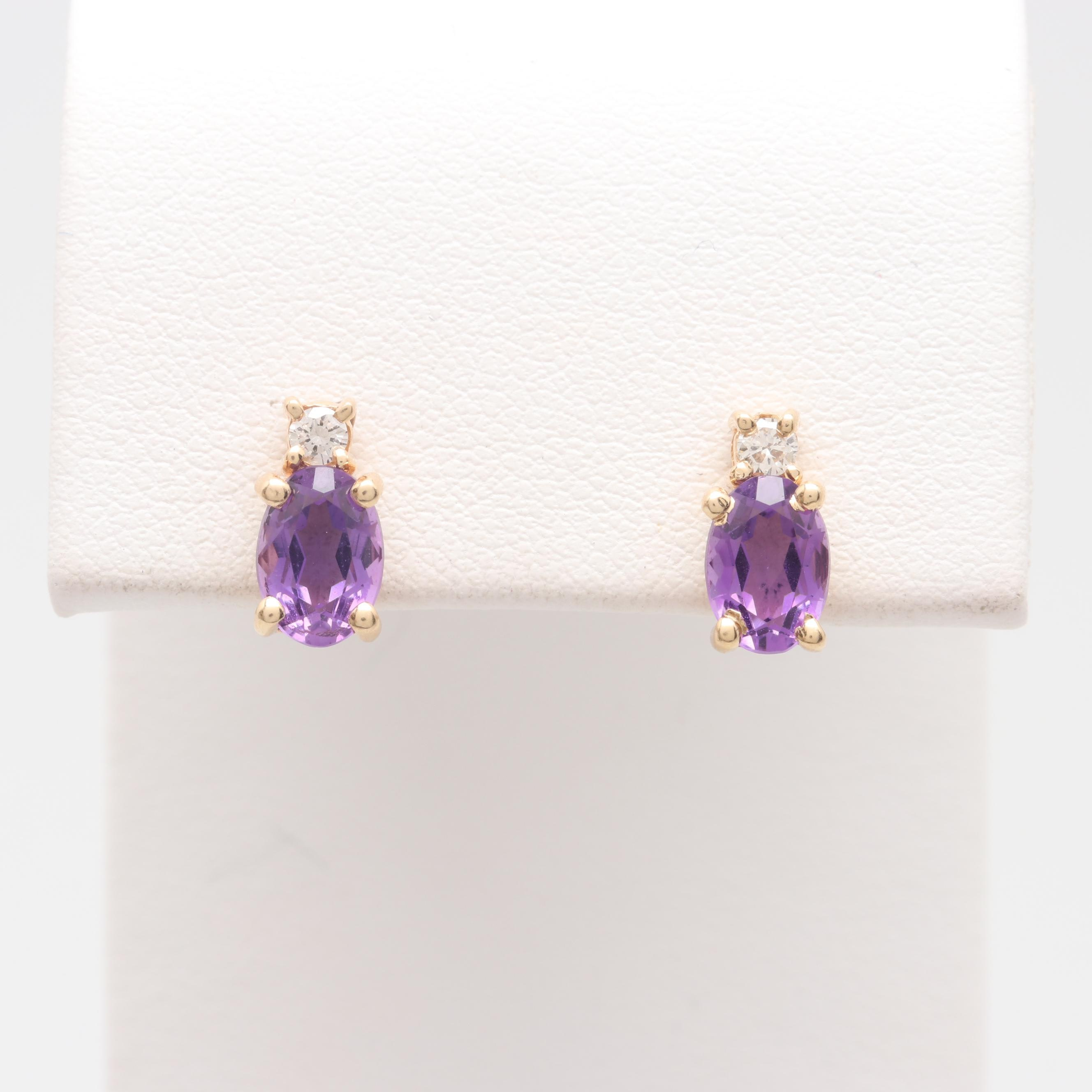 14K and 18K Yellow Gold Amethyst and Diamond Stud Earrings