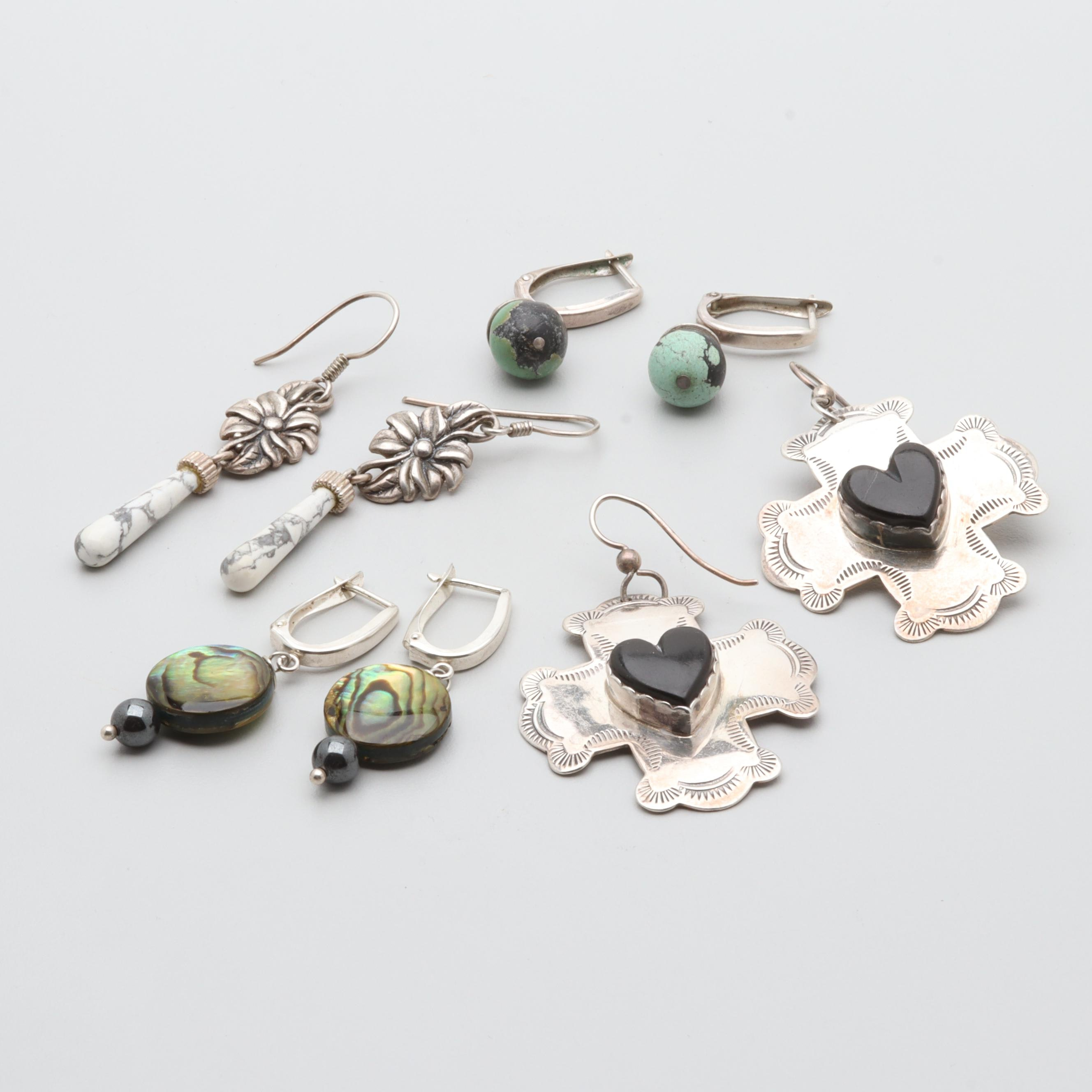 Sterling Silver Earring Selection Including J Slifka Designs, Abalone and Jet
