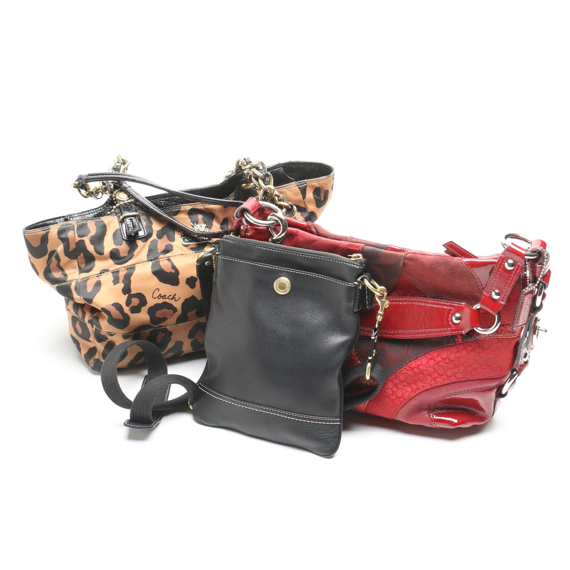 Coach Madison Leopard Print Nylon Tote and Other Handbags