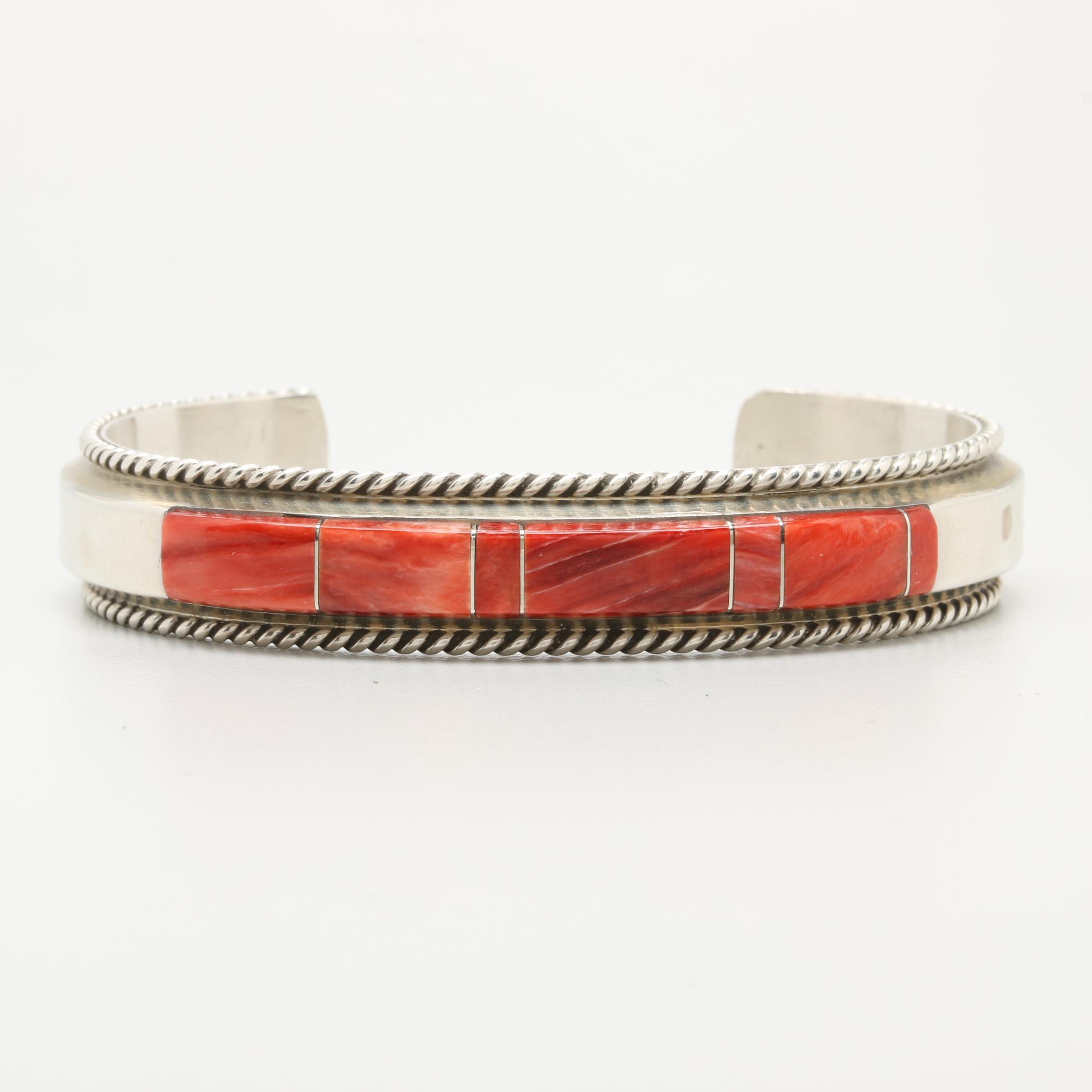Fannie Platero Navajo Diné Sterling Silver Spiny Oyster Cuff Bracelet