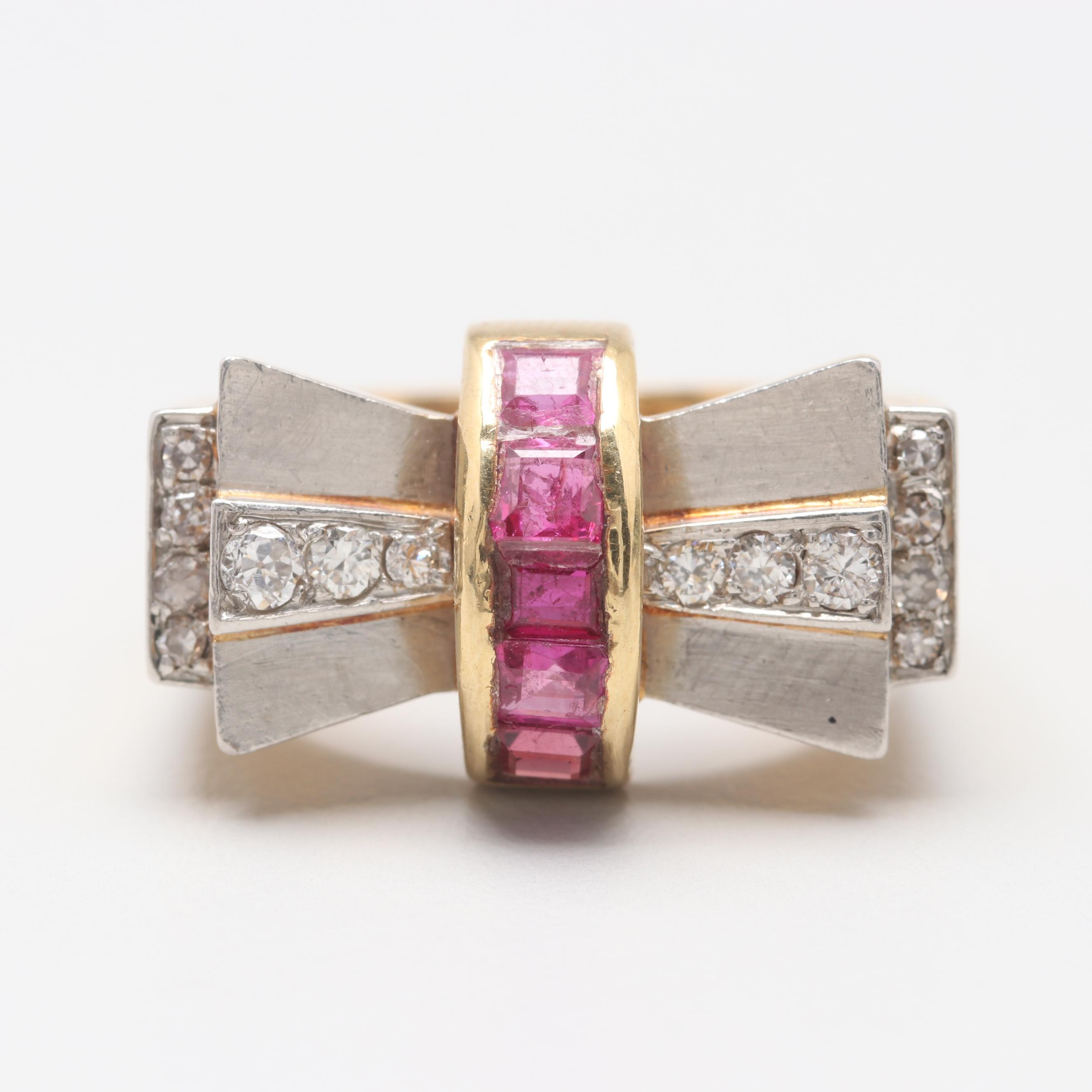 Retro 18K Yellow Gold Ruby and Diamond Ring With Platinum Accents