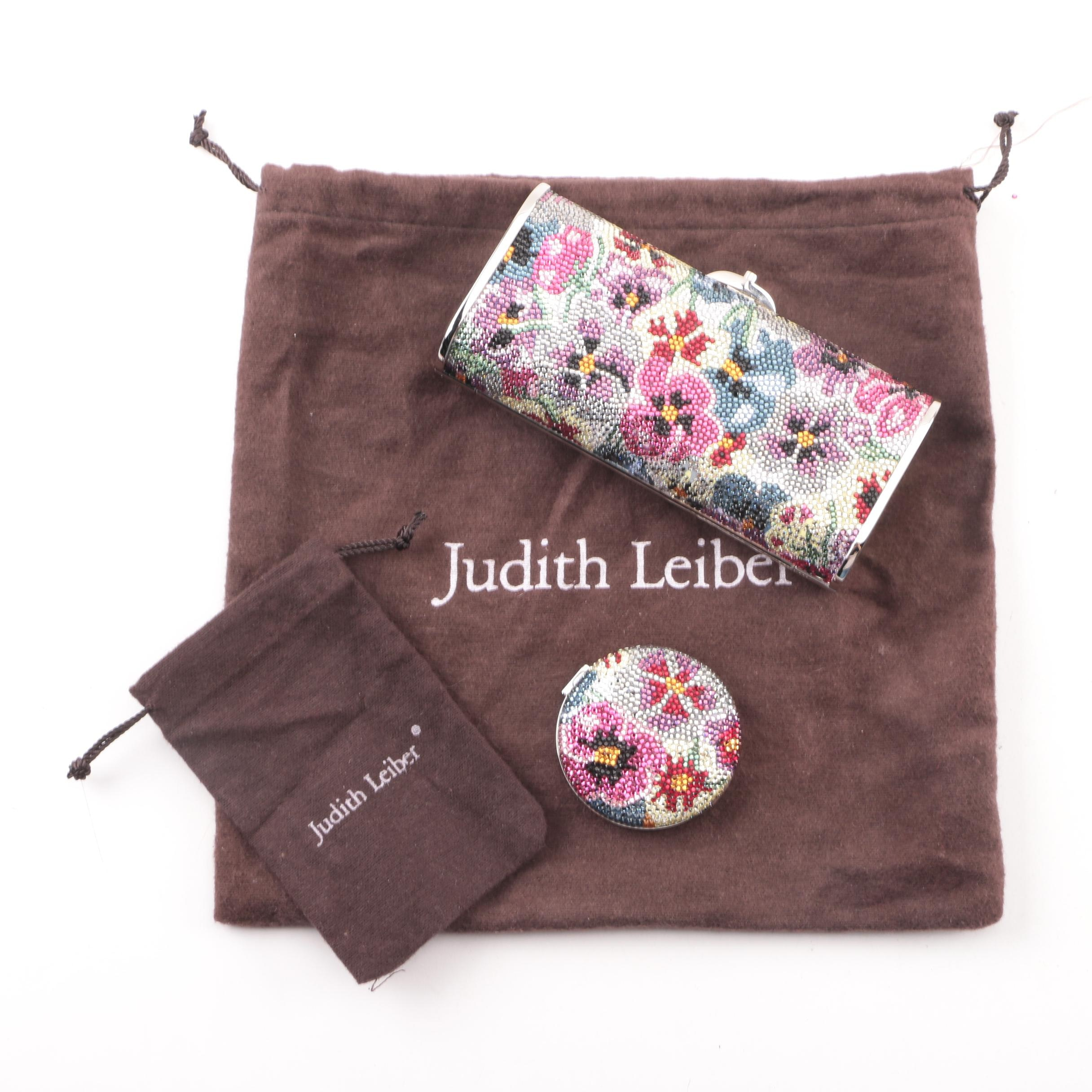 Judith Leiber Crystal Rhinestone Floral Clutch and Powder Compact