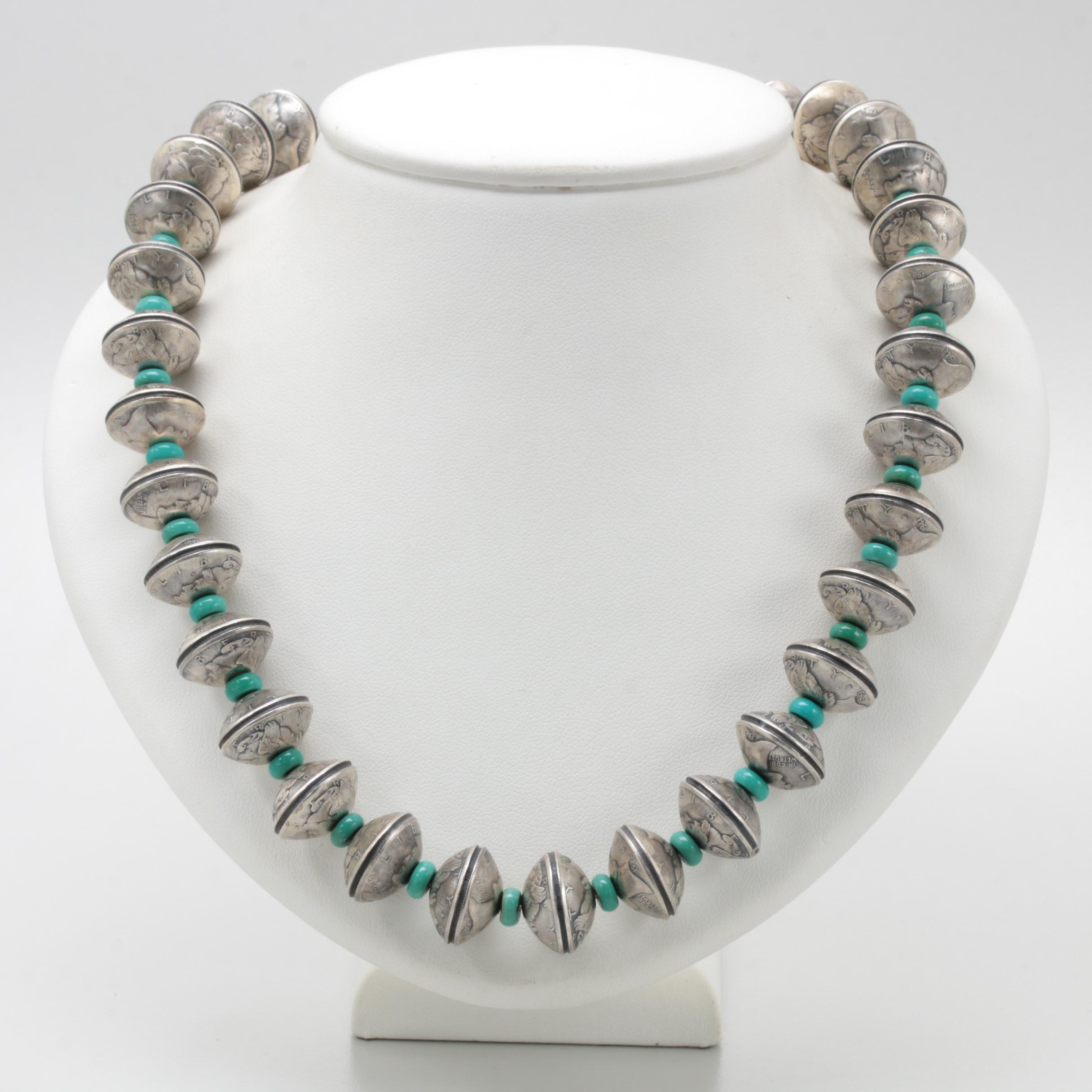 Jane McCrory Navajo Diné Sterling and 900 Silver Turquoise Necklace
