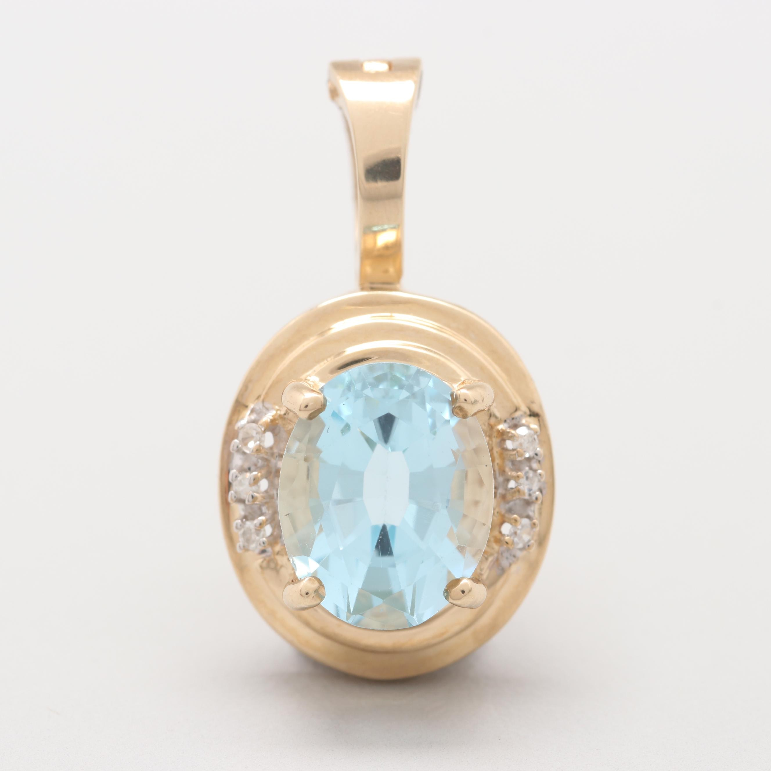 14K Yellow Gold Blue Topaz and Diamond Enhancer Pendant