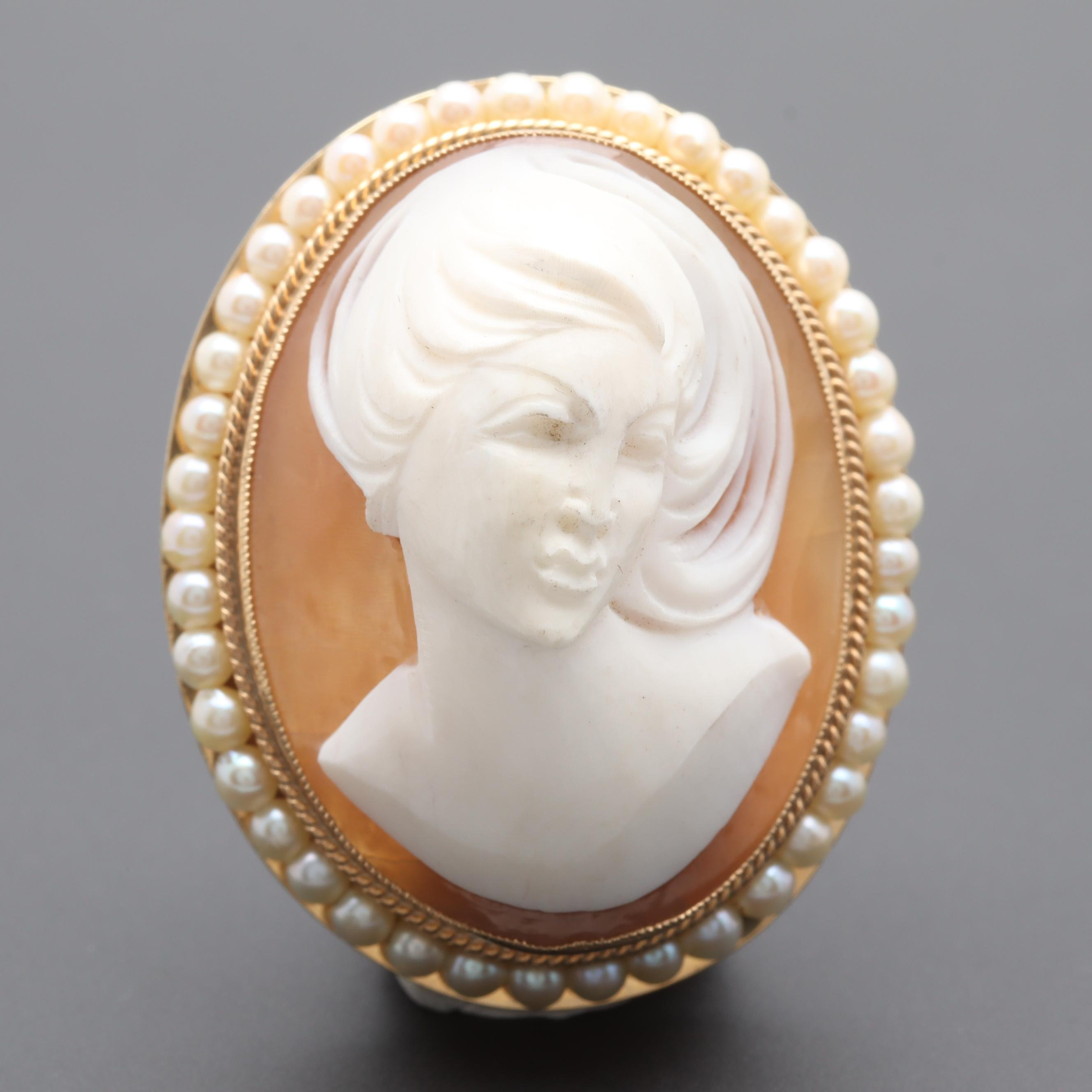14K Yellow Gold Helmet Shell and Cultured Pearl Cameo Converter Brooch
