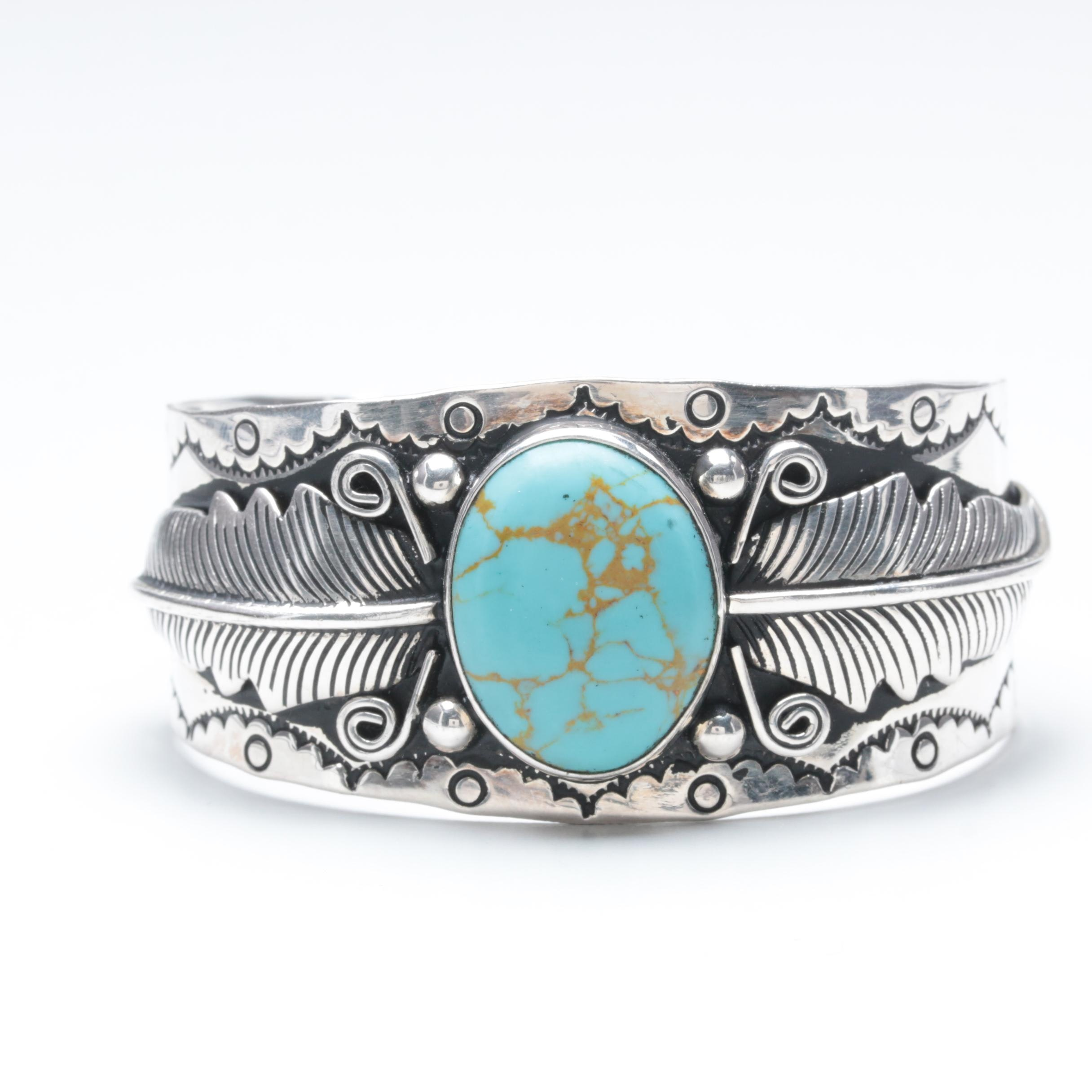 Southwestern Style Sterling Silver Reconstituted Turquoise Cuff Bracelet