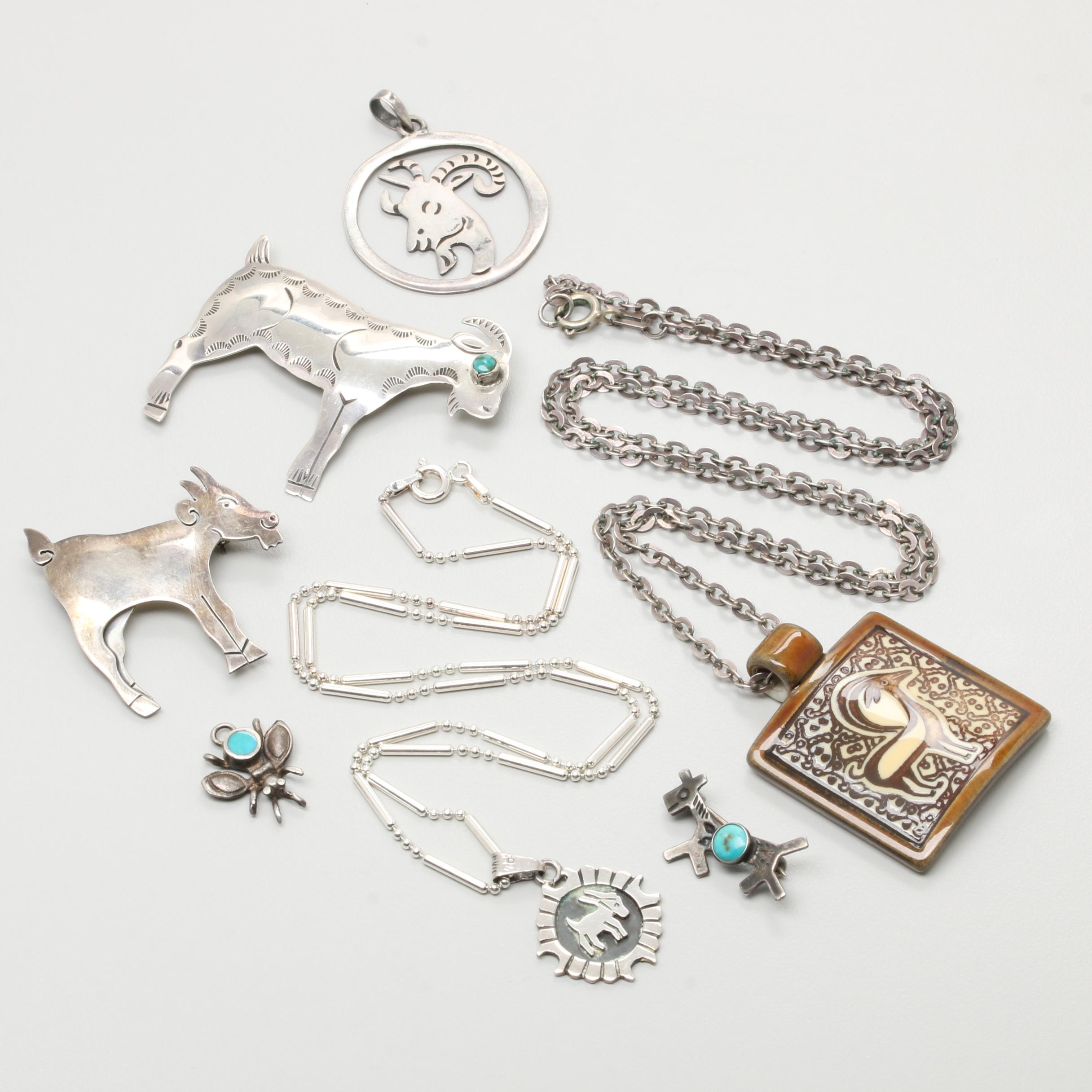 Sterling Silver Jewelry Selection with Turquoise and Glazed Porcelain