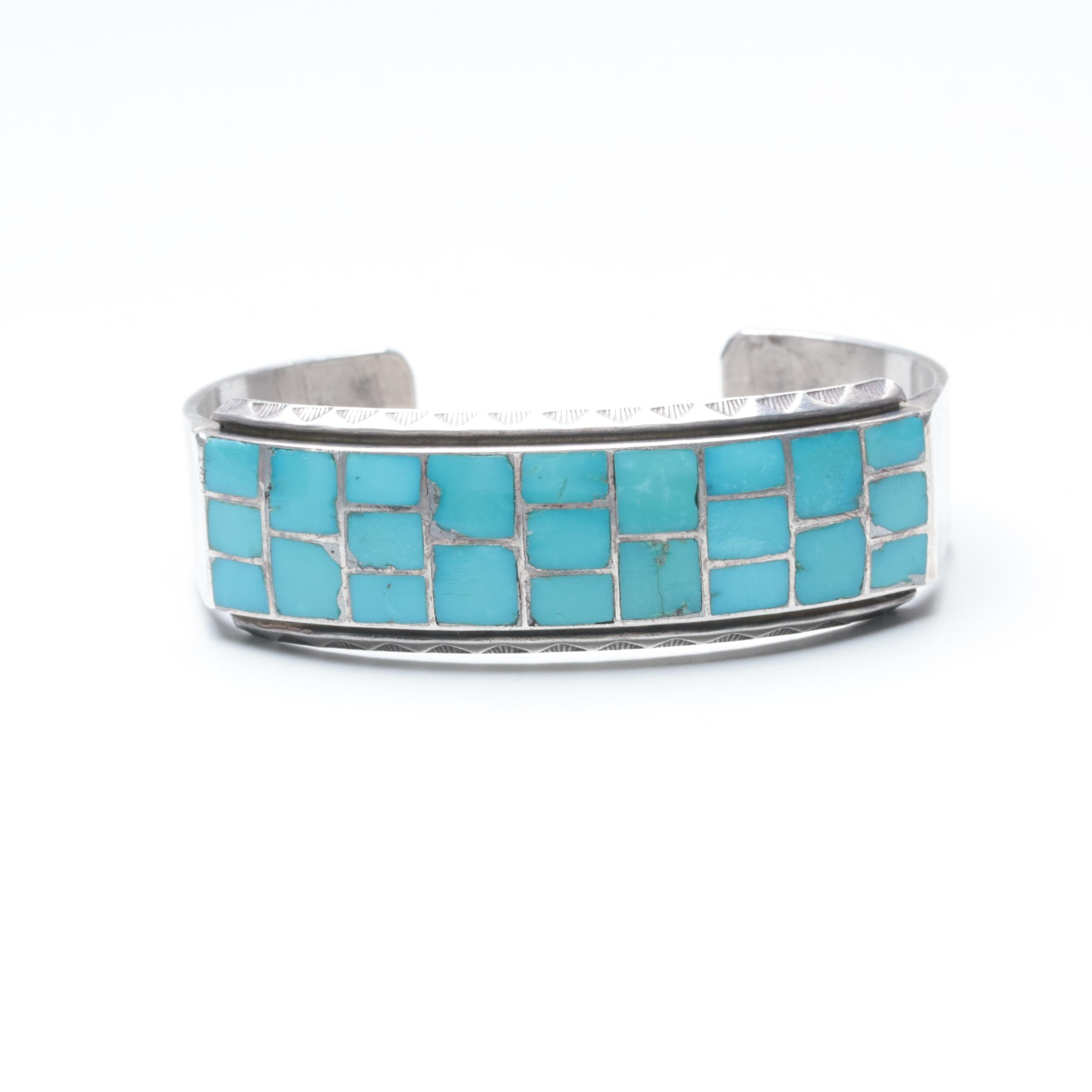 Southwestern Style Sterling Silver Turquoise Inlay Cuff Bracelet