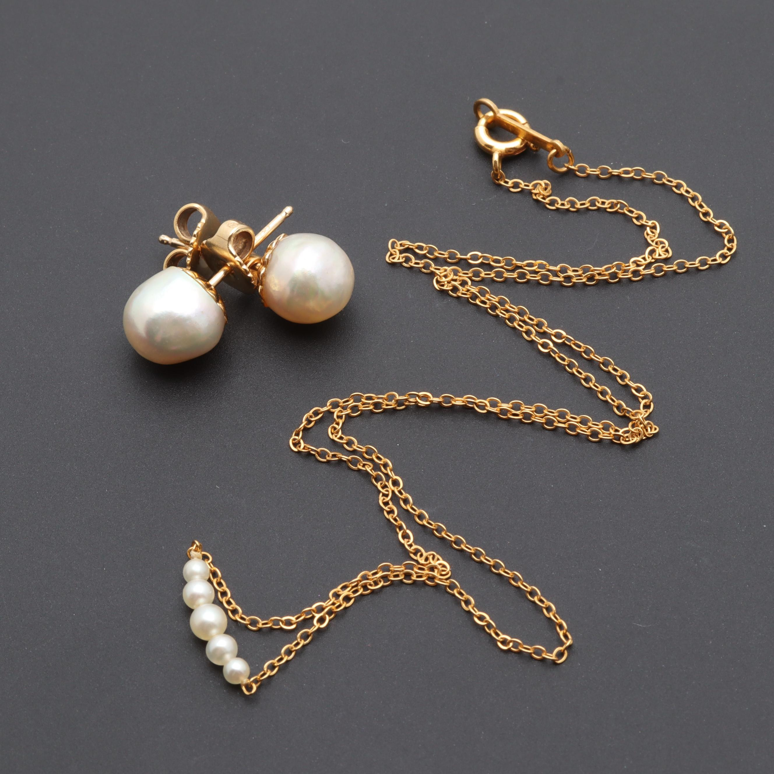 14K Yellow Gold Cultured Pearl Earrings and Necklace