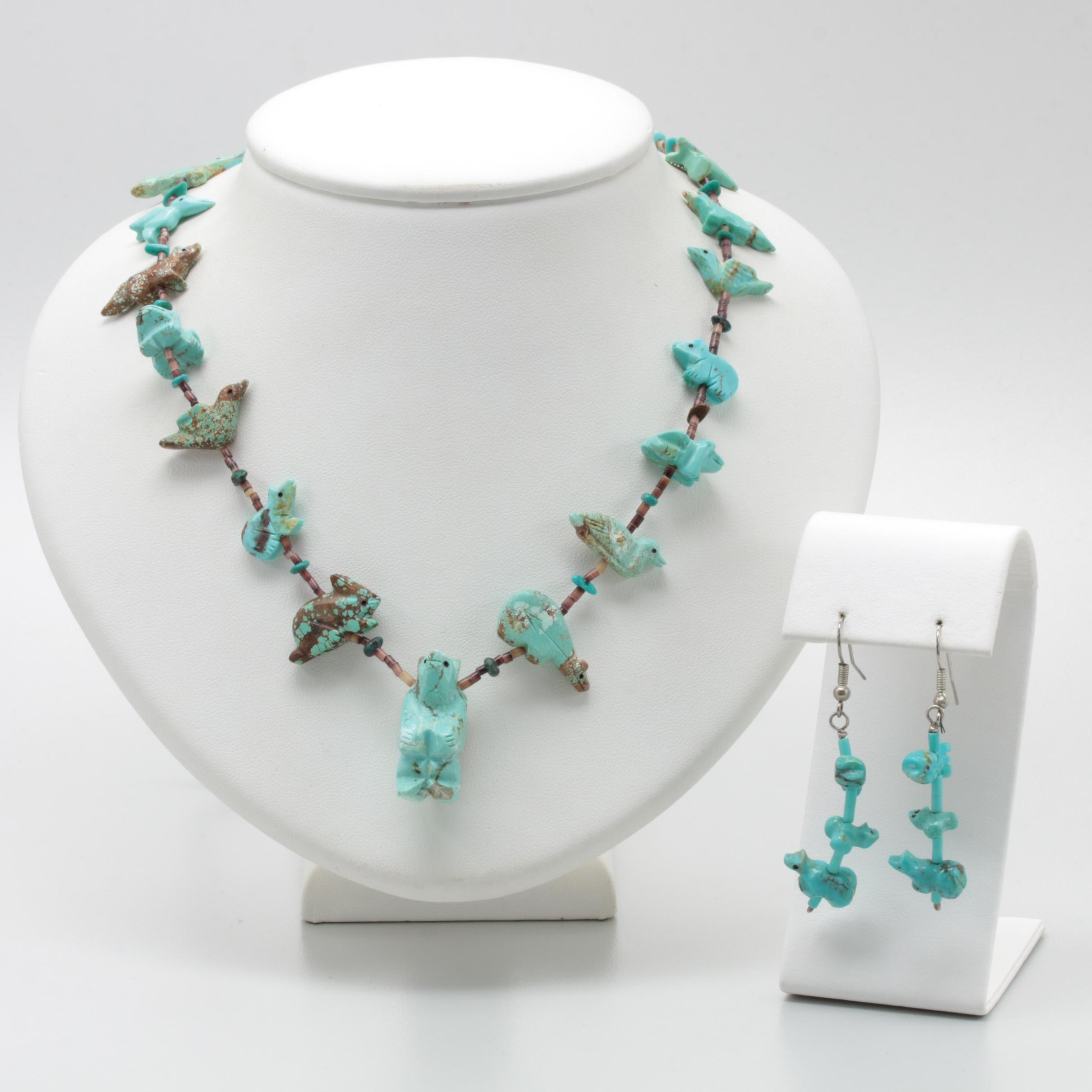Sterling Silver Turquoise and Shell Fetish Jewelry