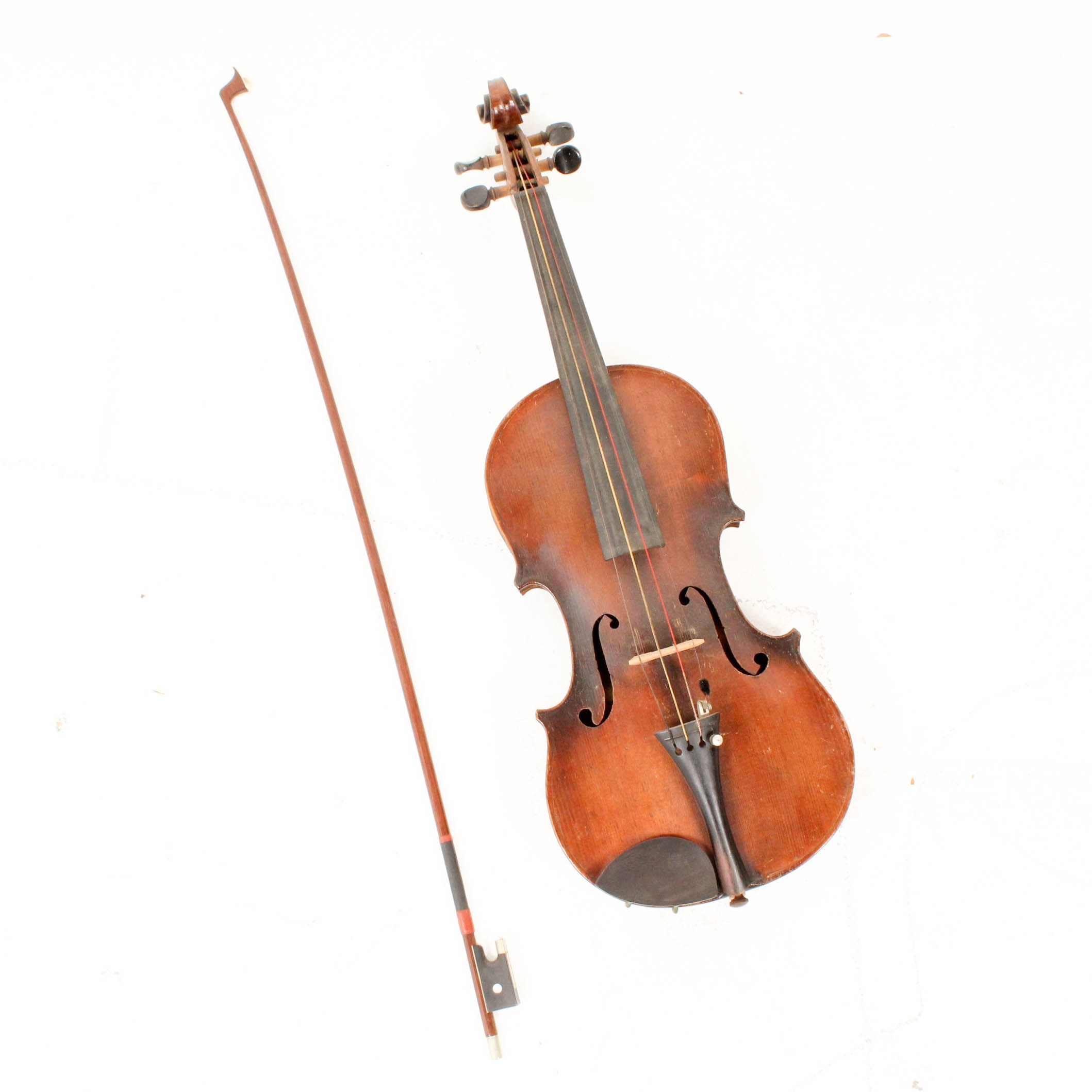 Antique Czechoslovakian Stradivarius Copy 4/4 Violin with Bow and Case