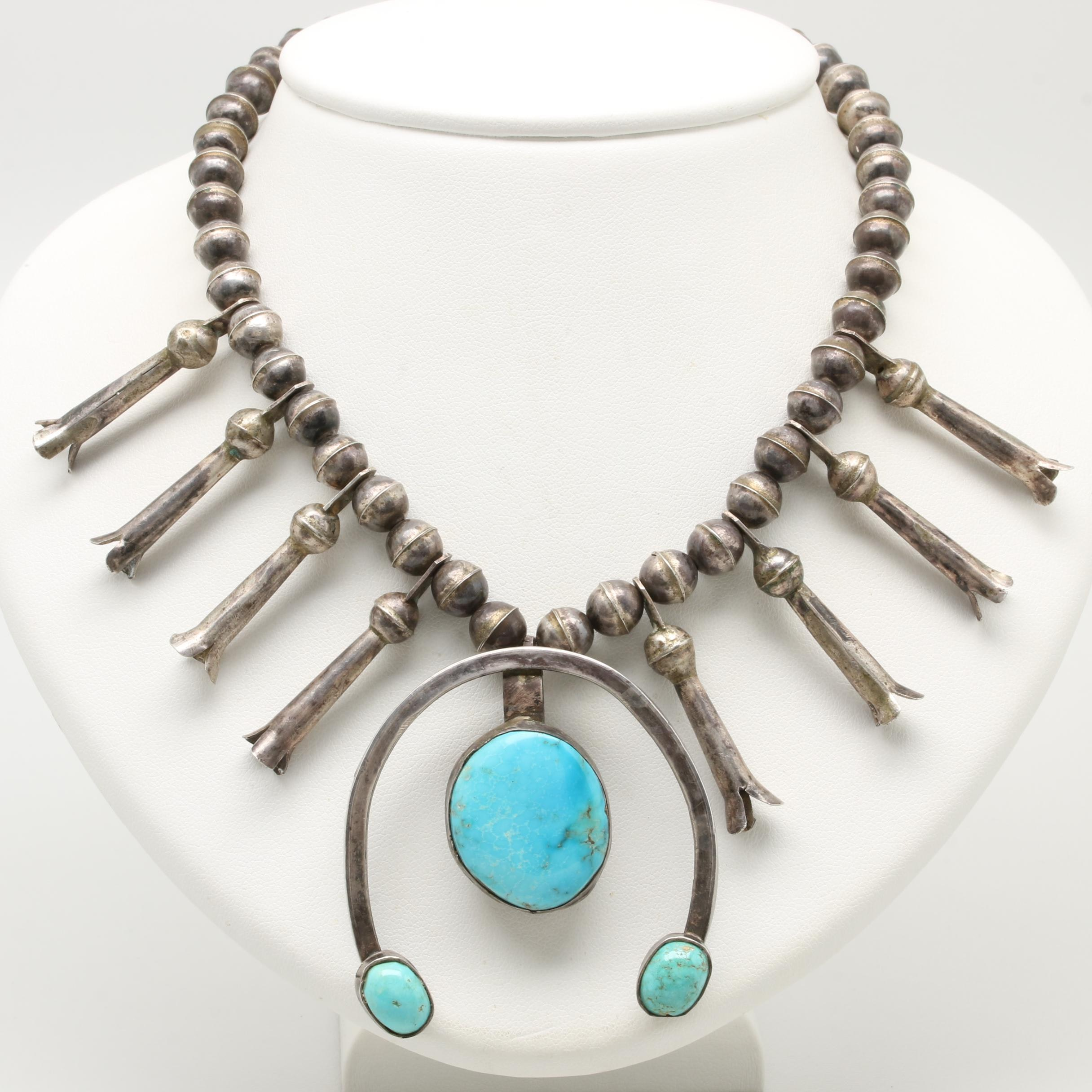 Southwestern Style Sterling Silver Turquoise Naja Squash Blossom Necklace