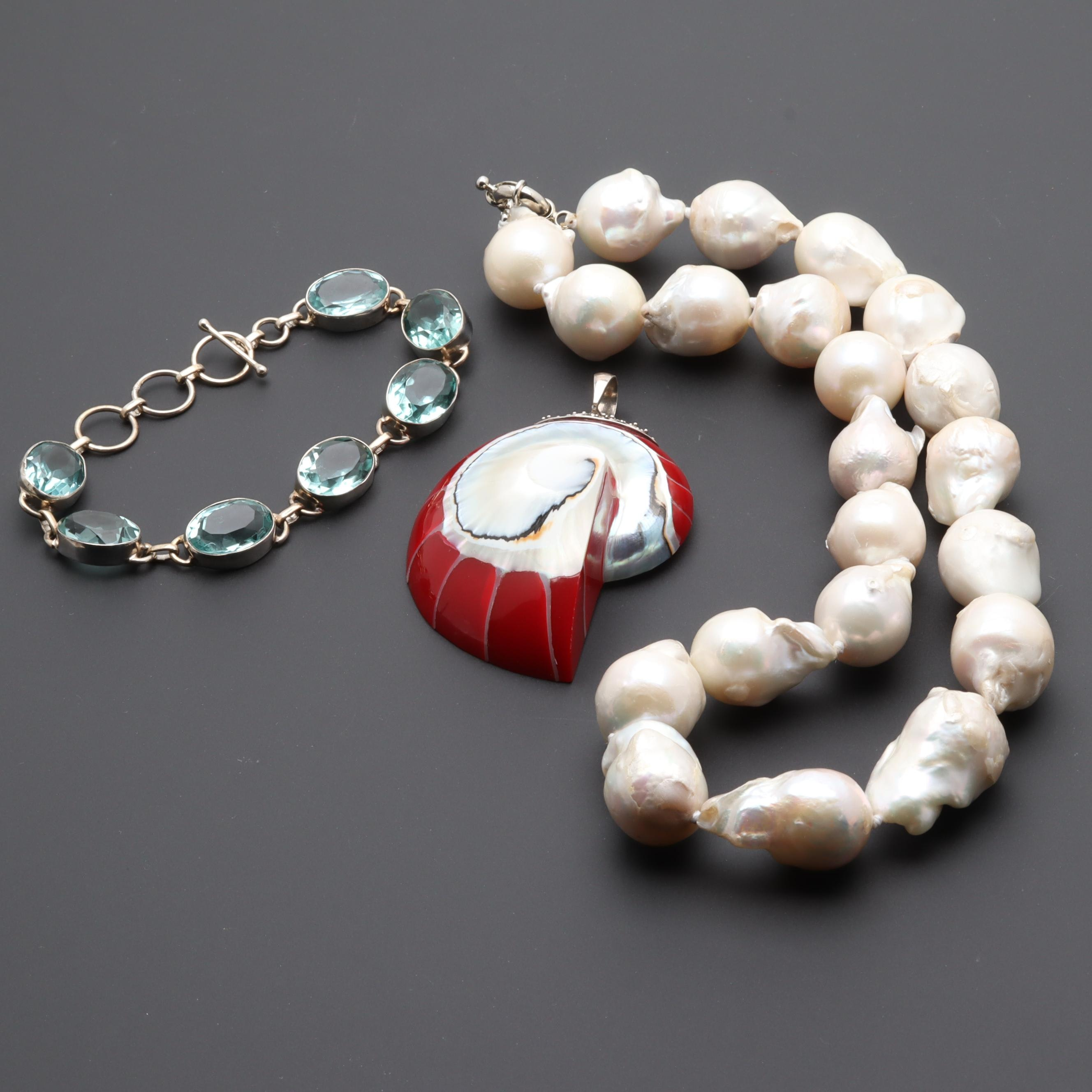 Sterling Silver and Silver Tone Shell, Cultured Pearl, and Glass Jewelry
