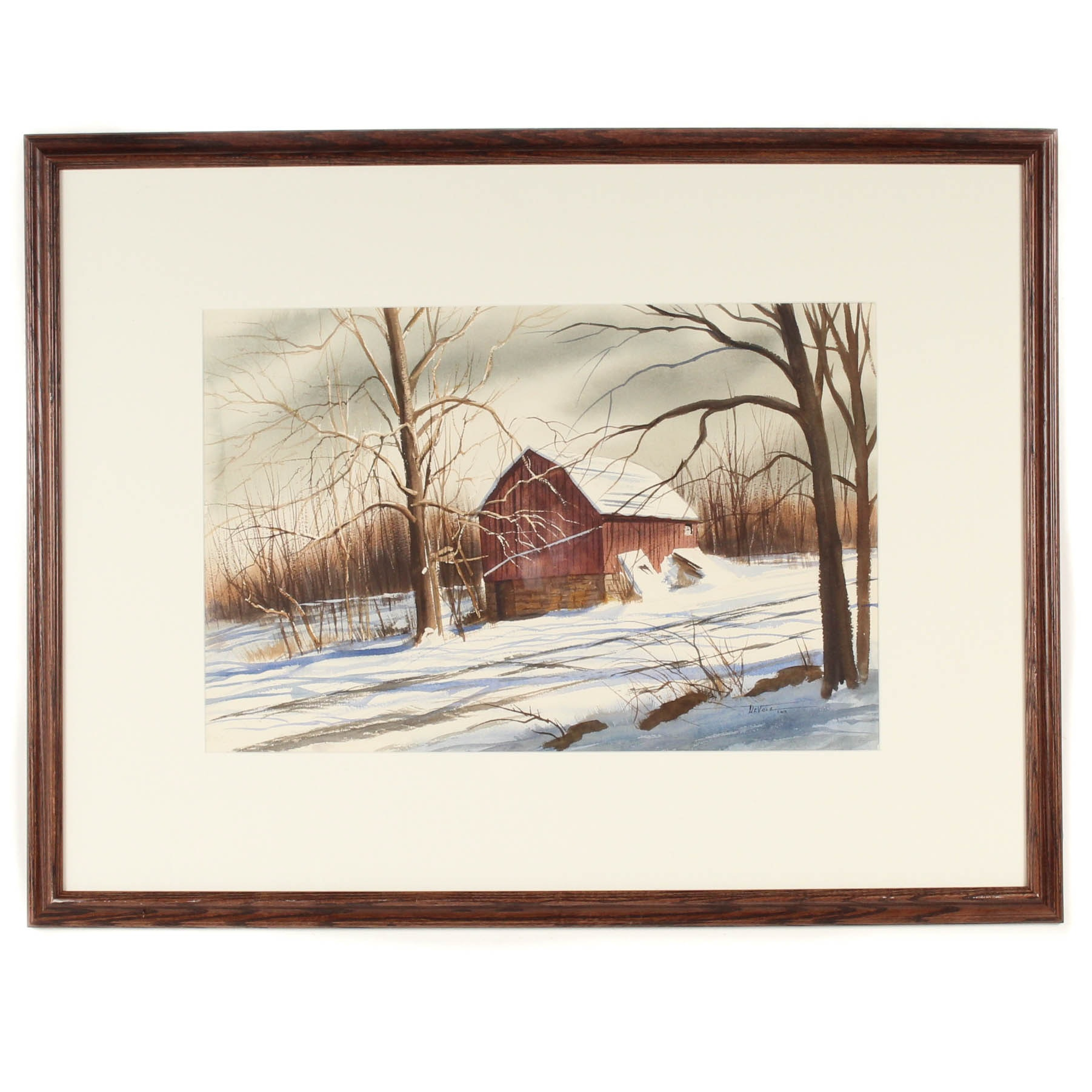 James DeVore Winter Landscape Watercolor
