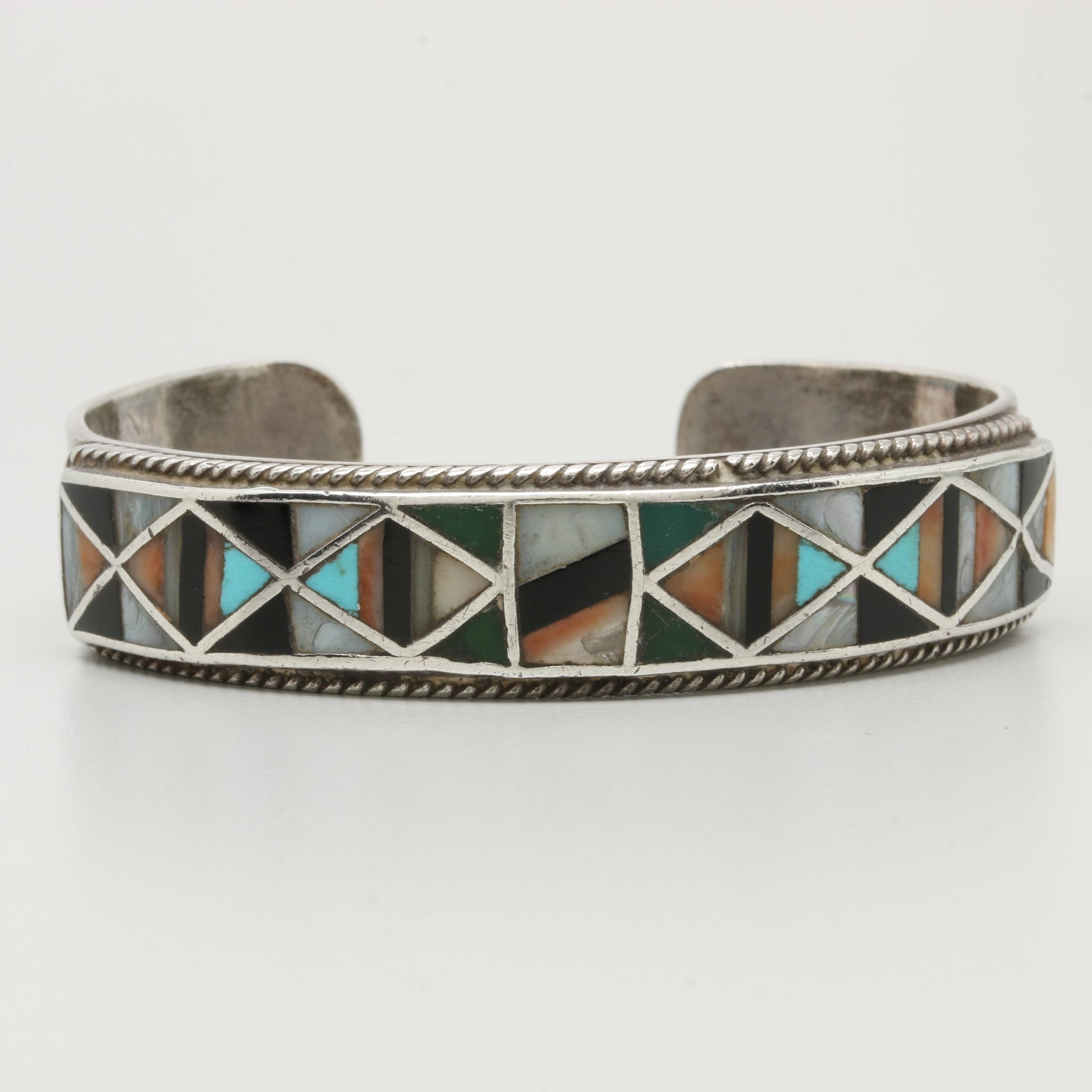 Southwestern Style Sterling Silver Coral and Turquoise Inlay Cuff Bracelet
