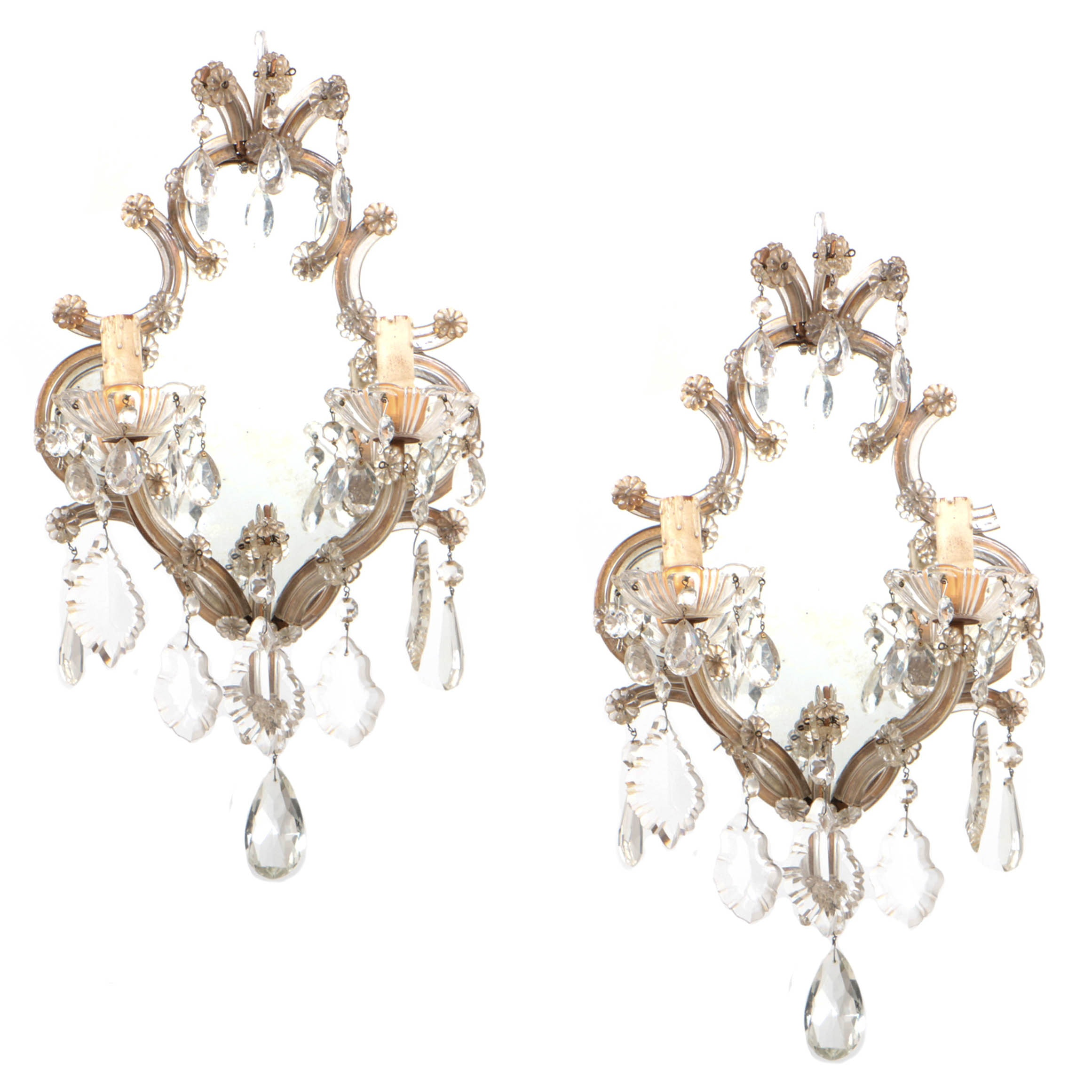 Antique Venetian Glass Mirrored Sconces