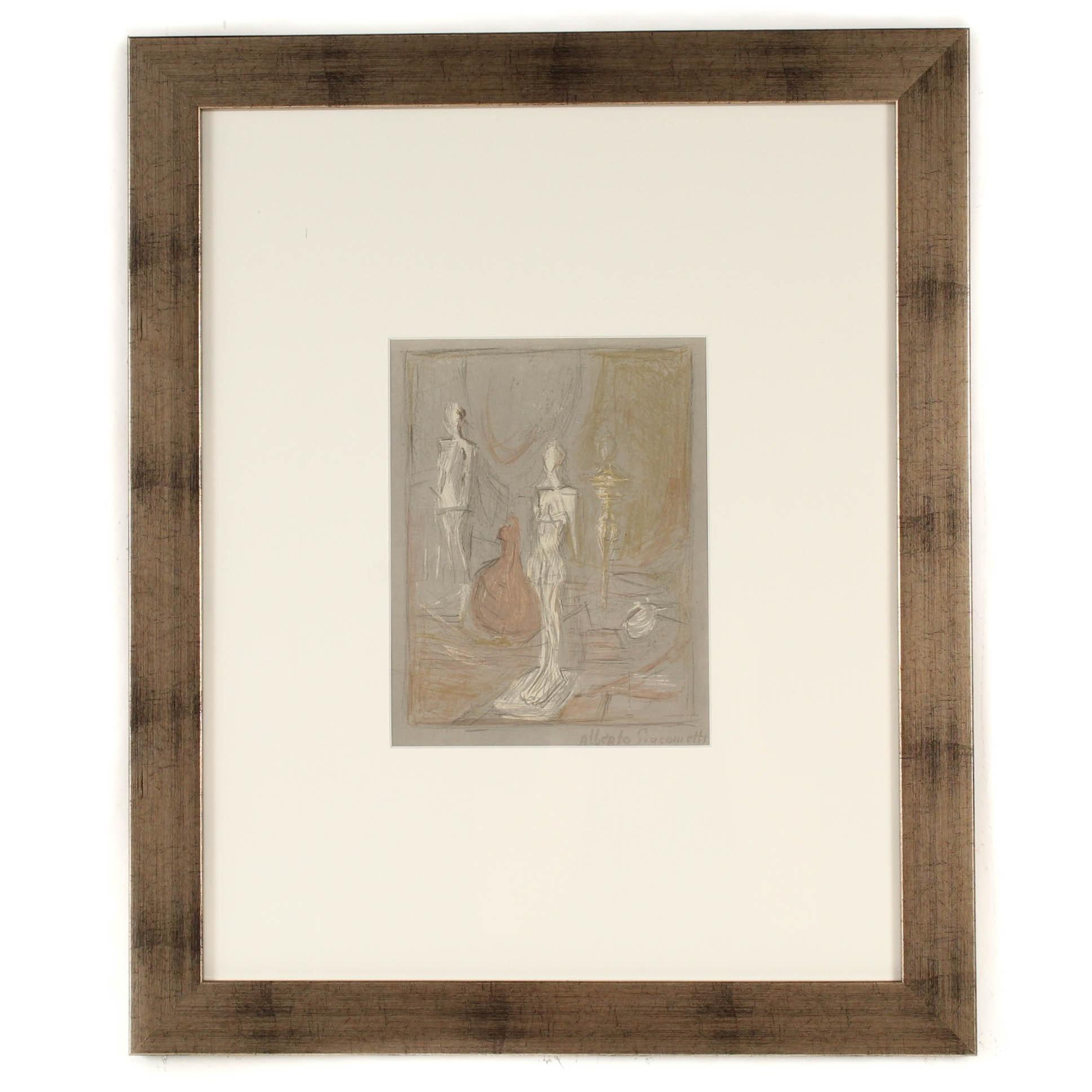 """Alberto Giacometti 1954 Color Lithograph for """"Derriere le Miroir"""" #65"""