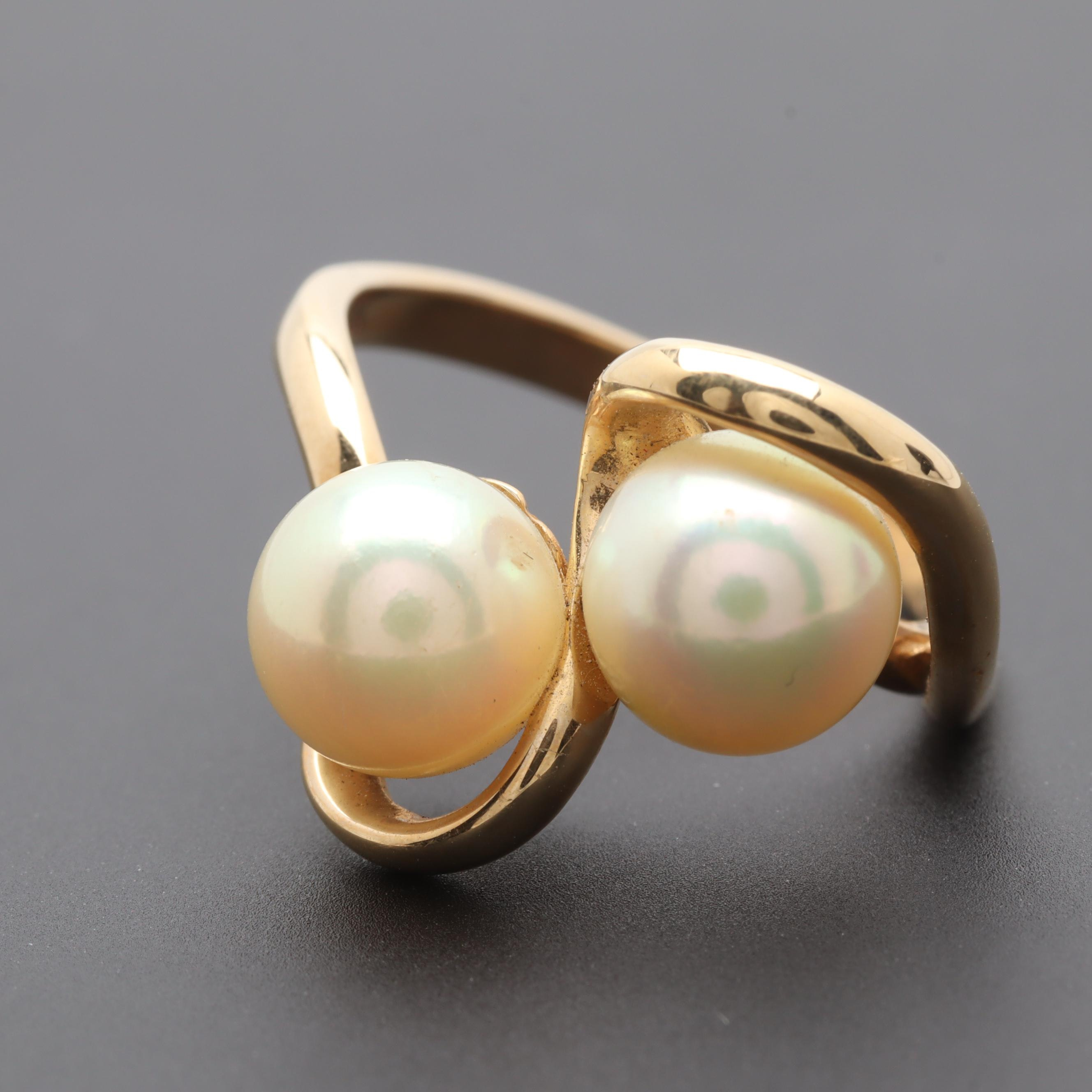 14K Yellow Gold Cultured Pearl Freeform Ring