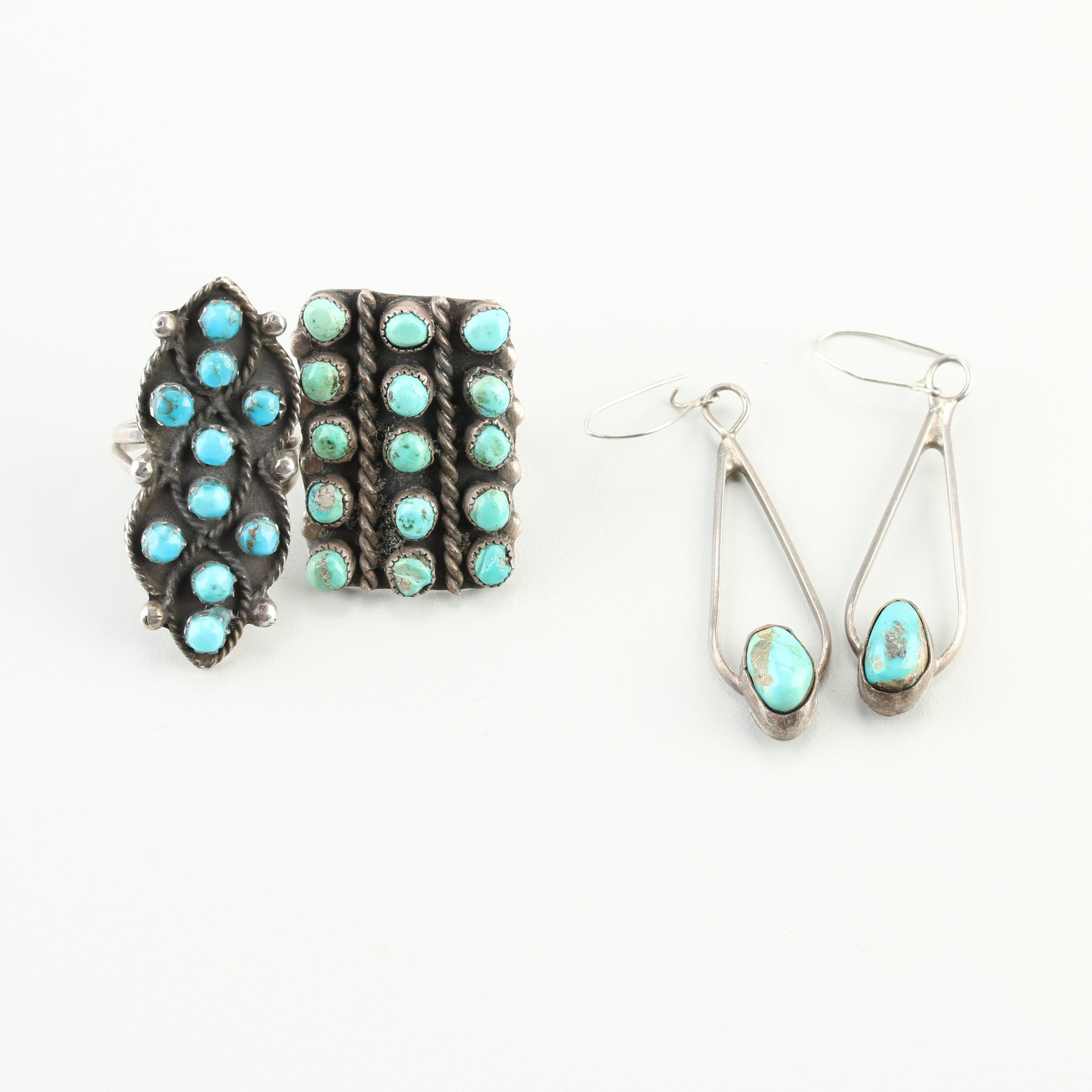 Southwestern Style Sterling Silver Rings and Earrings
