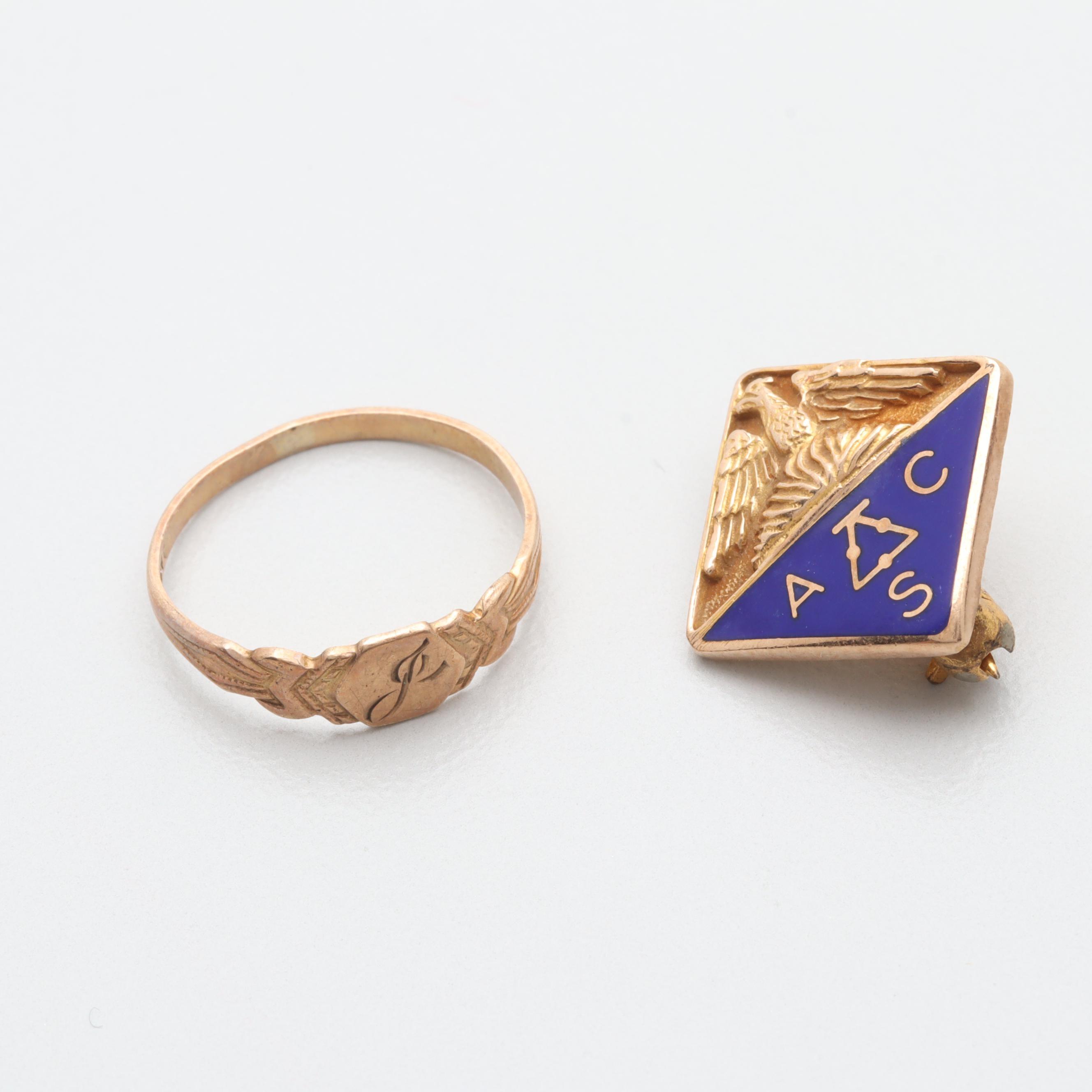 Vintage 10K Rose Gold Ring With 10K Yellow Gold Enamel Pin