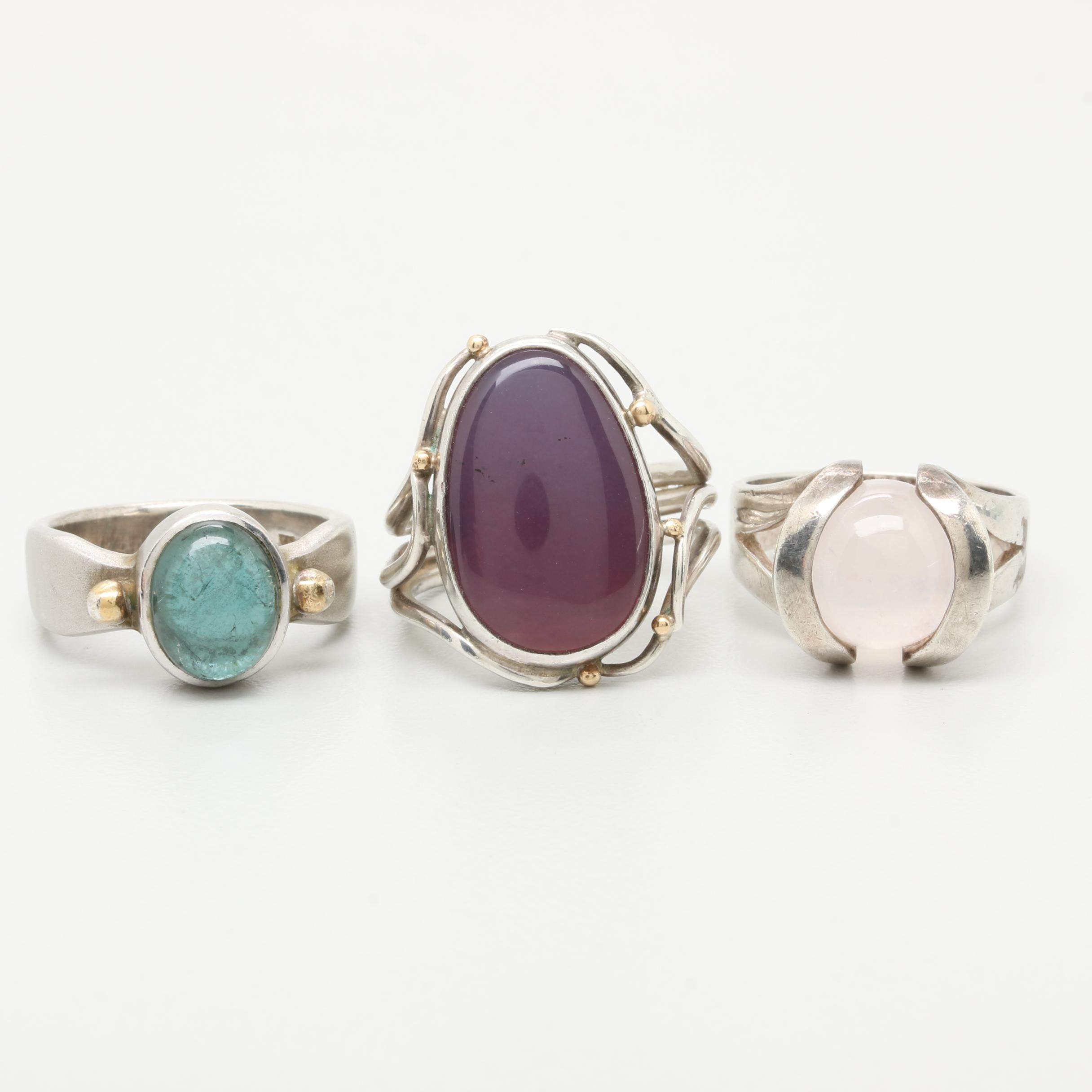 Sterling Ring Assortment Including Chalcedony, Rose Quartz, and Tourmaline