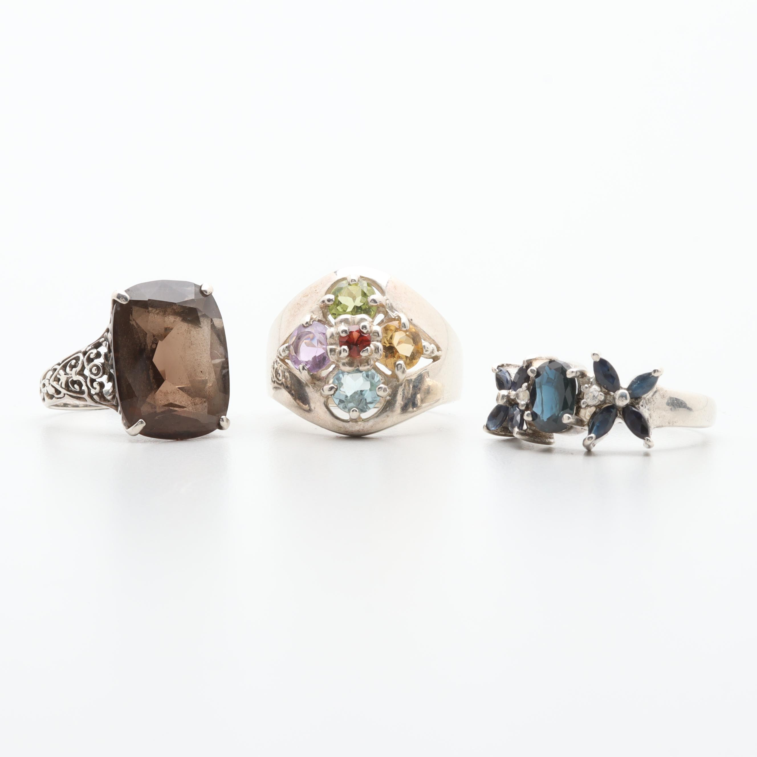 Sterling Silver Ring Selection Including Sapphire, Smoky Quartz and Citrine