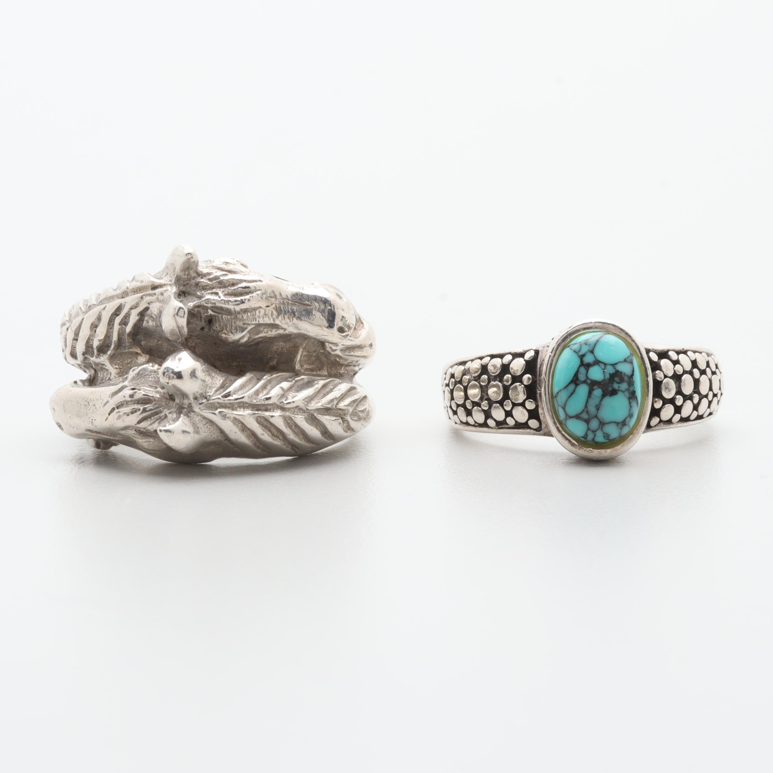 Southwestern Style Sterling Silver Ring Selection Including Turquoise