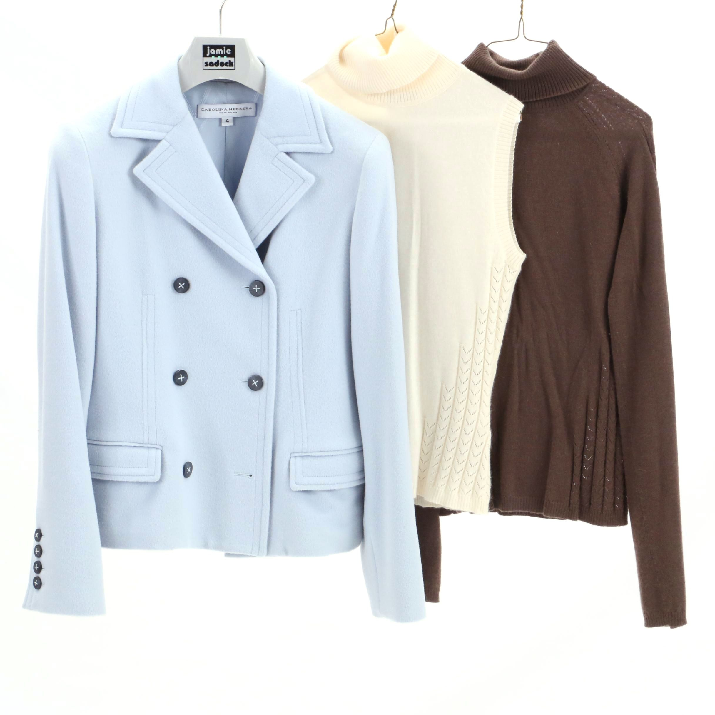 Carolina Herrera Peacoat and Cashmere Turtleneck Sweaters