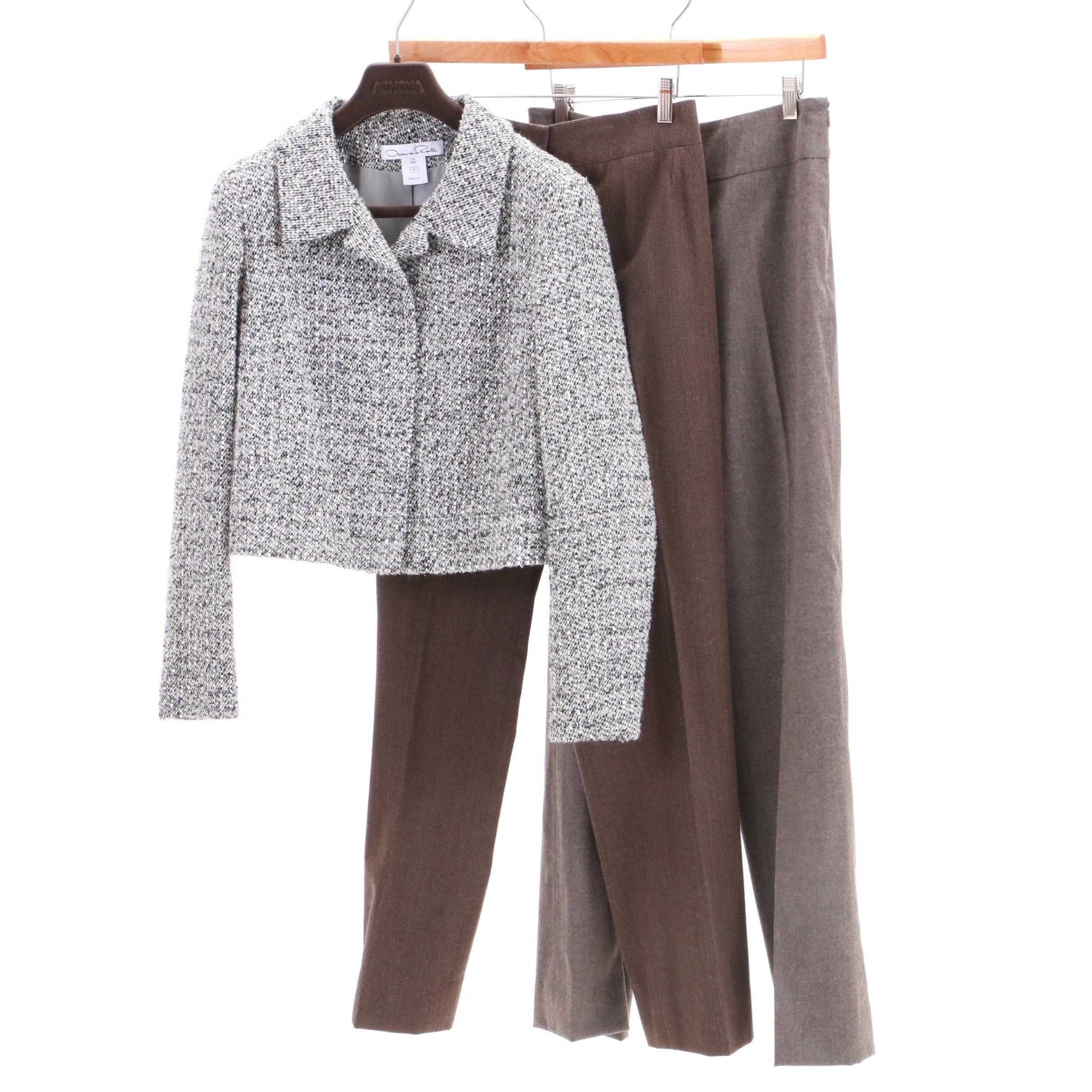 Oscar de la Renta Bouclé Jacket and Wool Blend Trousers