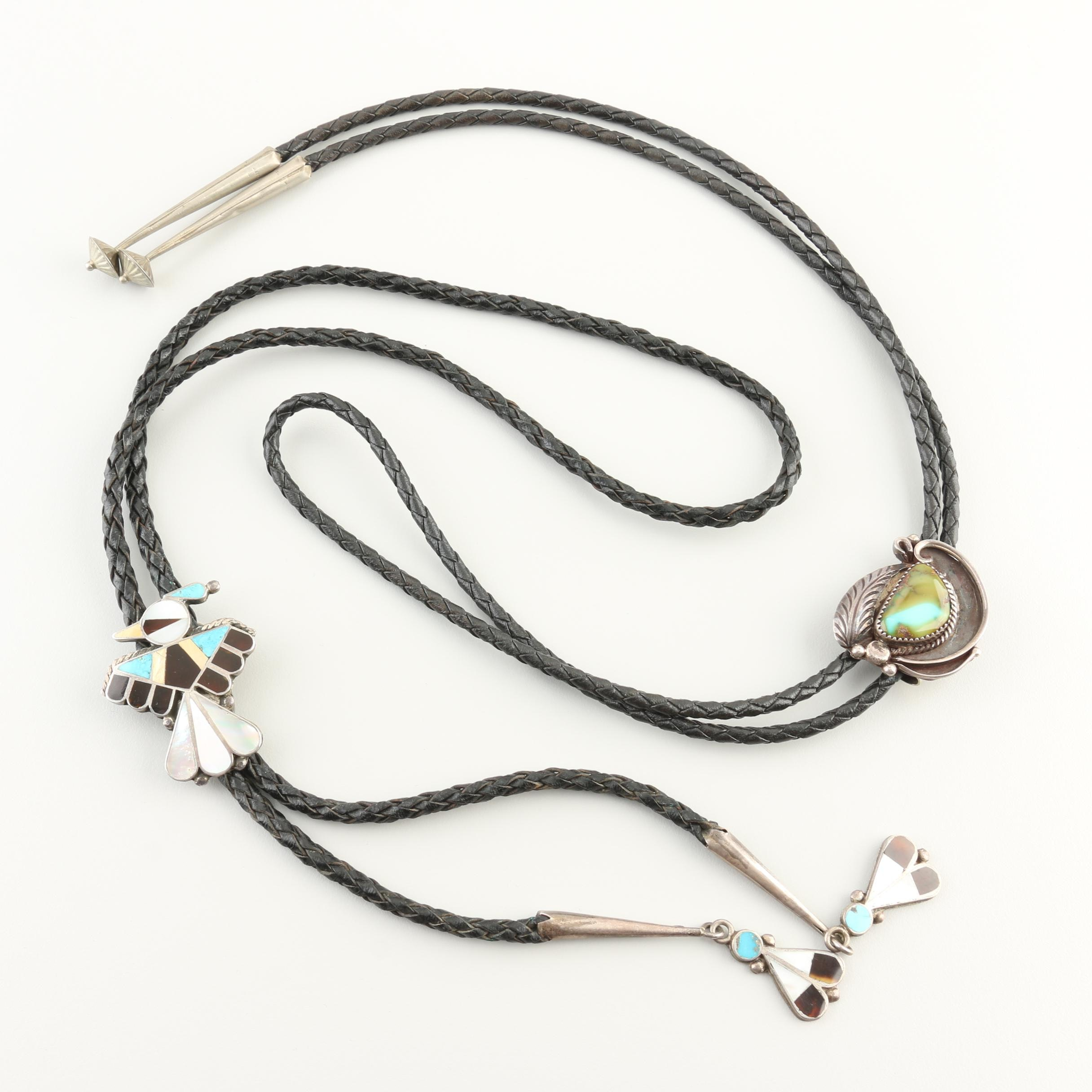 Southwestern Style Sterling Silver and Gemstone Bolo Ties