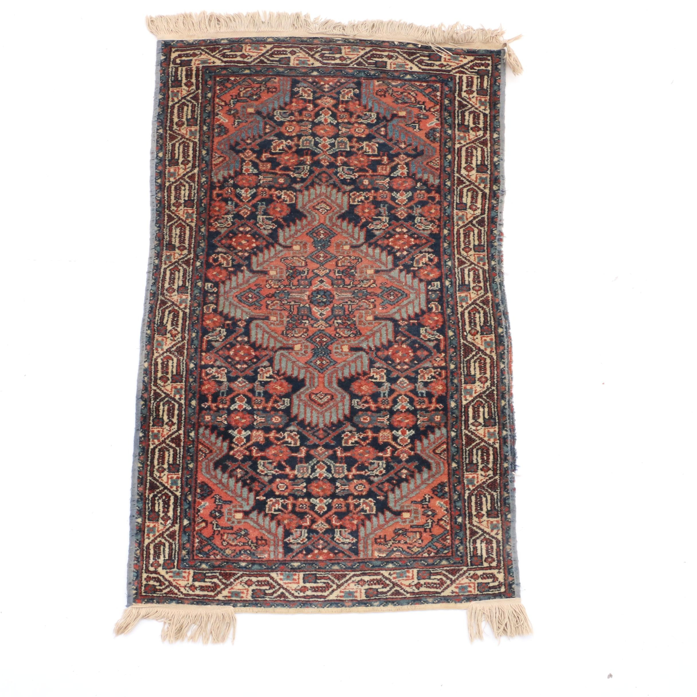 Hand-Knotted Persian Kurdish Jaff Accent Rug