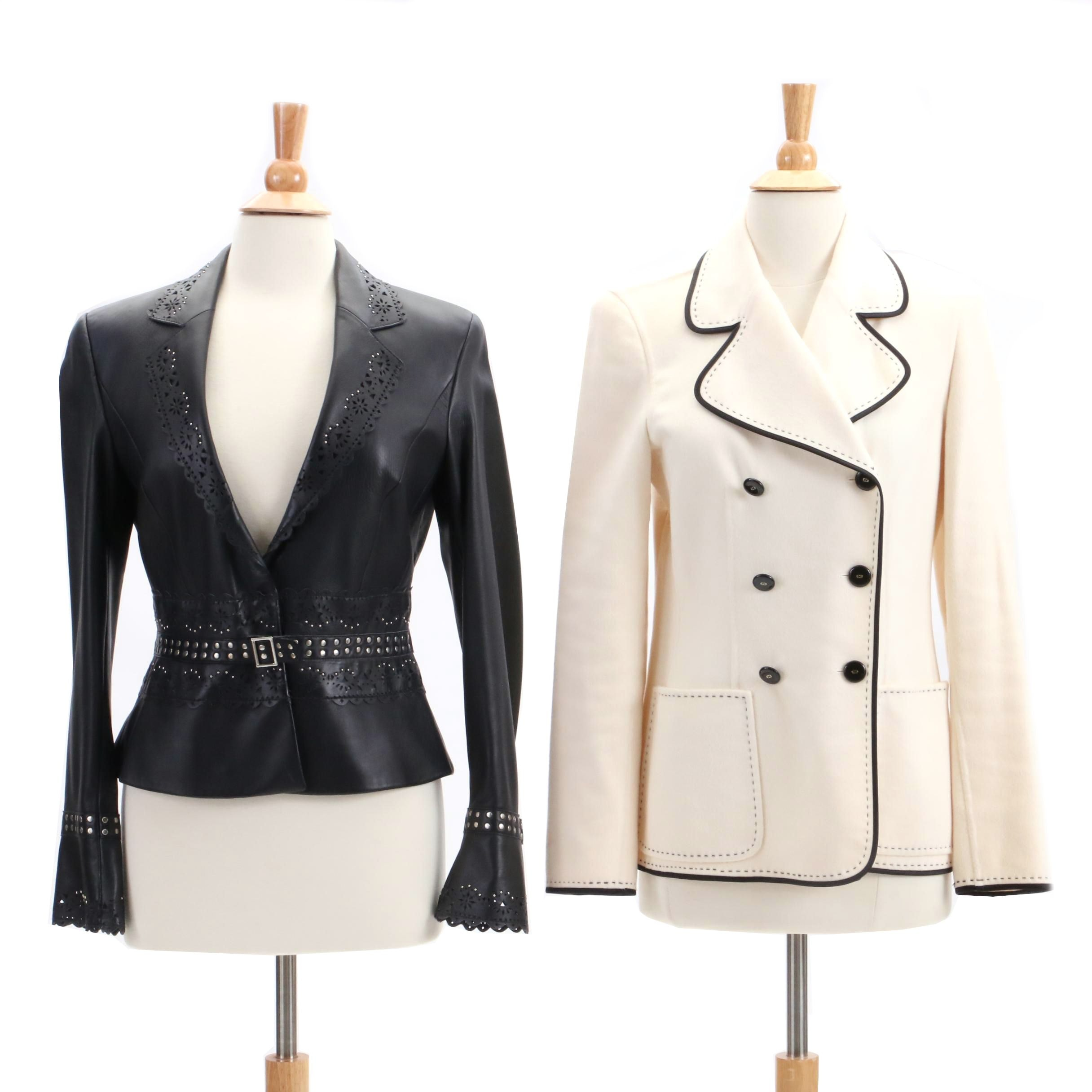 Escada Perforated Leather and Cashmere Jackets