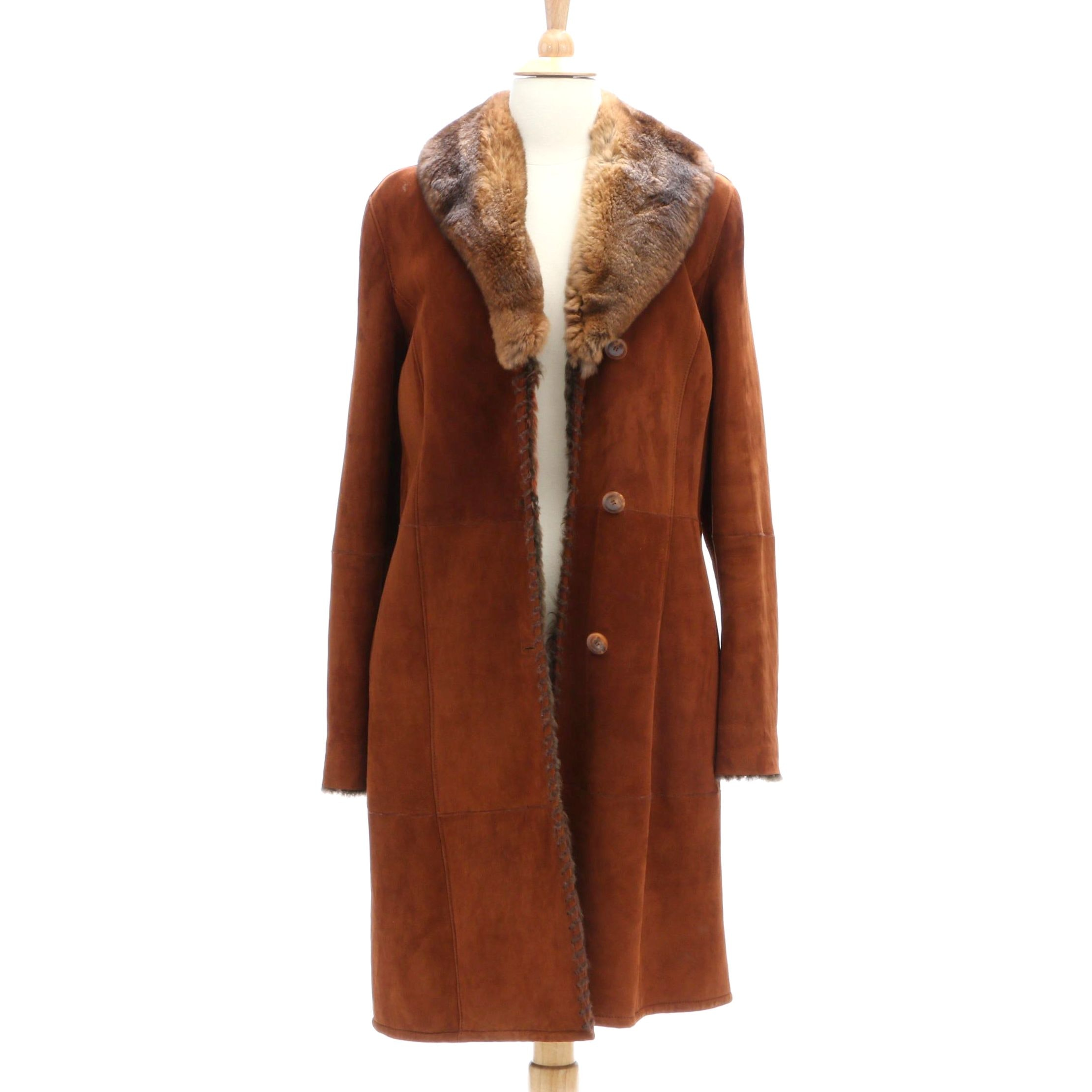Diane Firsten Shearling Coat with Rabbit Fur Collar