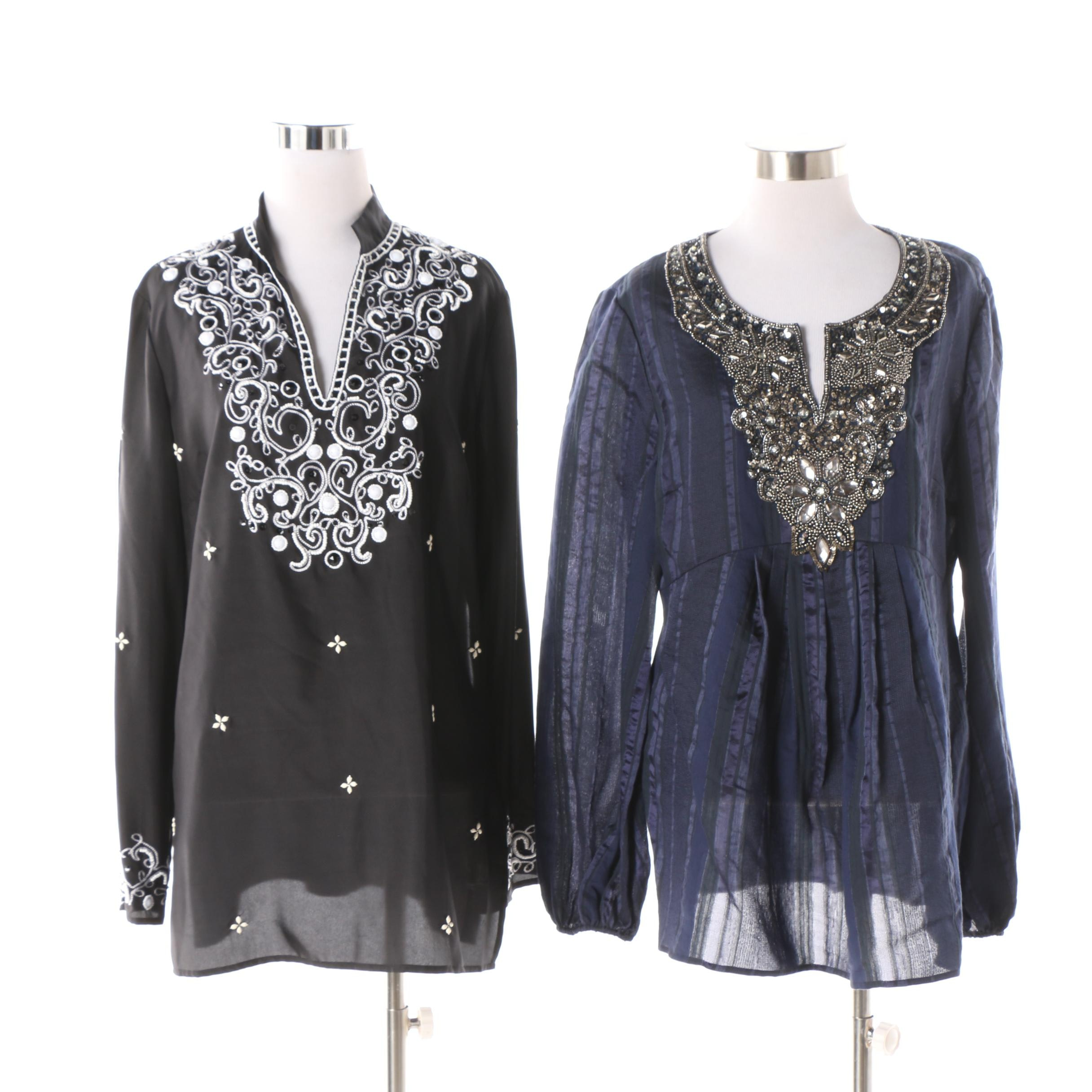 Lafayette 148 New York Embellished and Embroidered Tunics