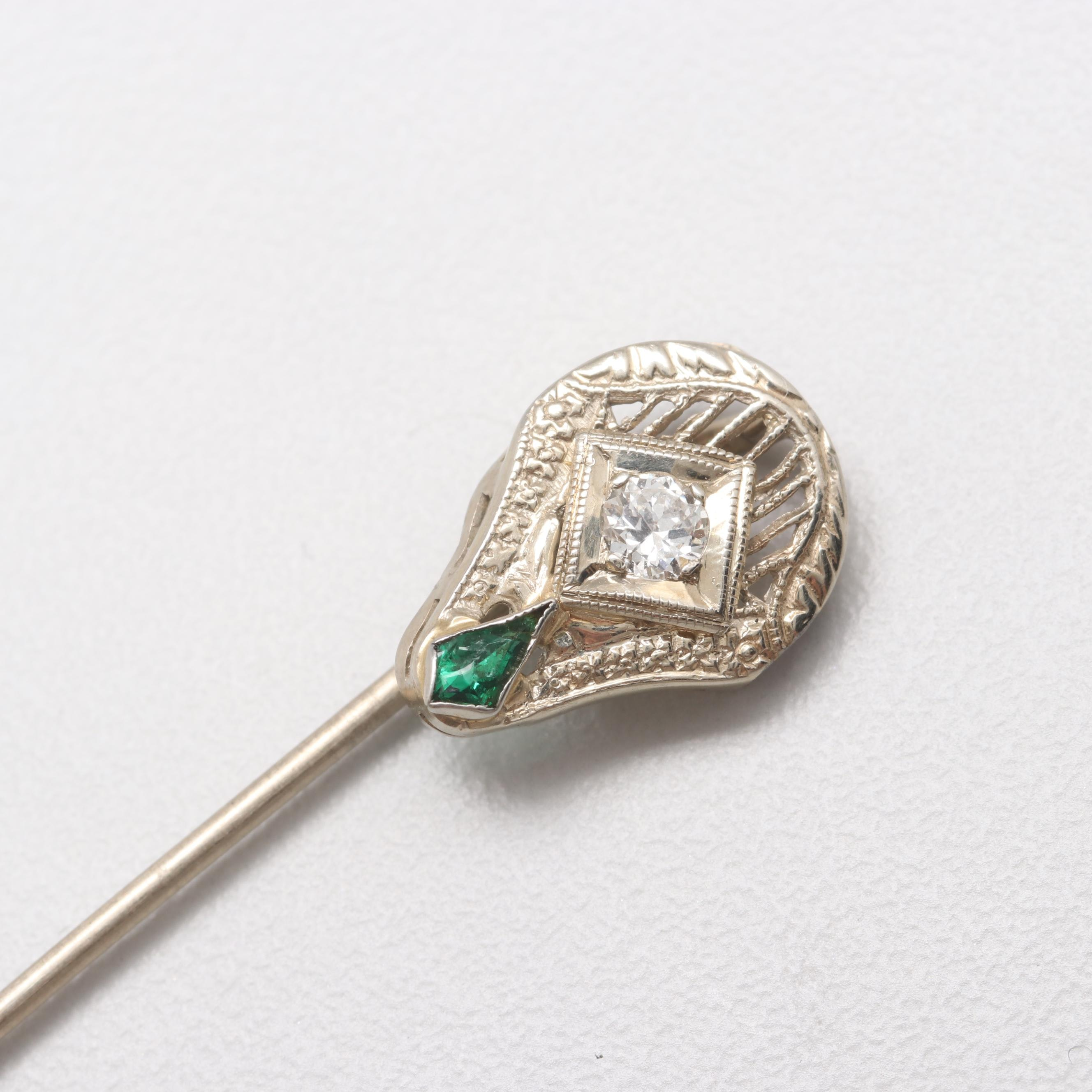 10K and 18K White Gold Diamond and Green Glass Stick Pin