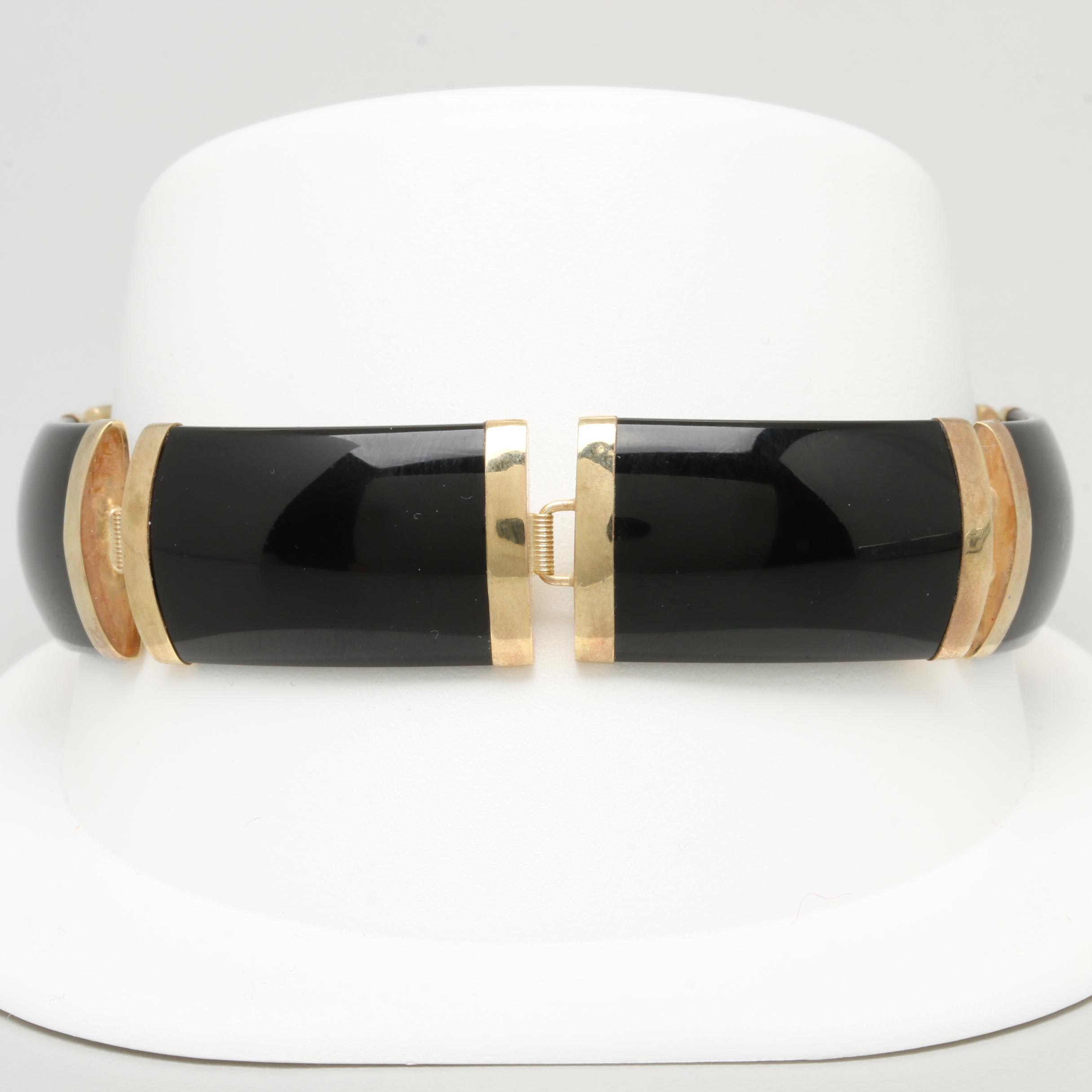 14K Yellow Gold Black Onyx Bracelet