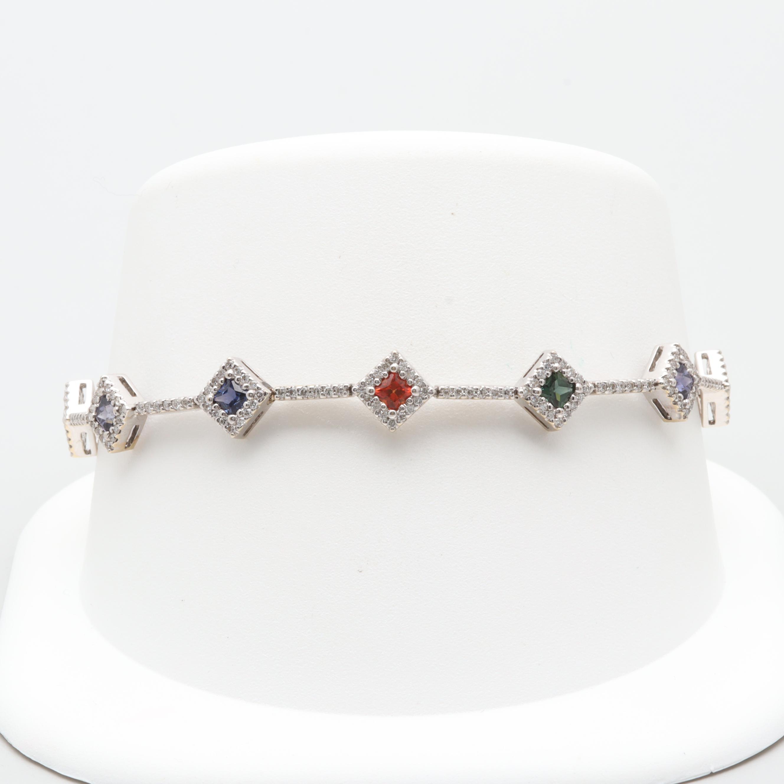 18K White Gold Multi-Color Sapphire and 1.32 CTW Diamond Bracelet
