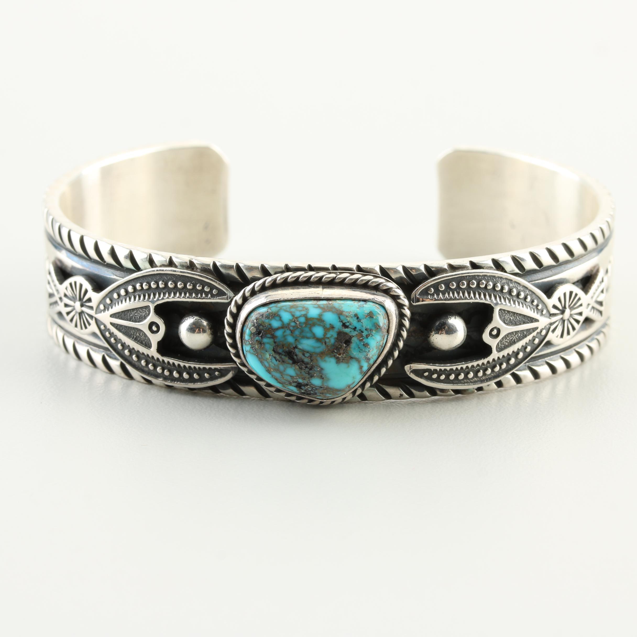 Albert Jake Navajo Diné Sterling Silver Turquoise Cuff Bracelet
