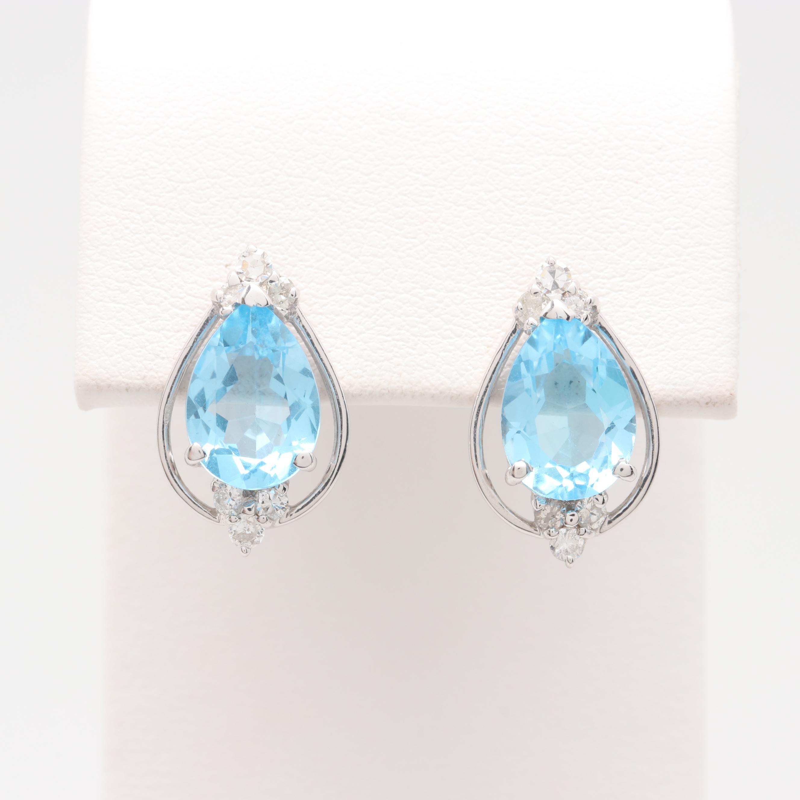 18K White Gold Topaz and Diamond Earrings