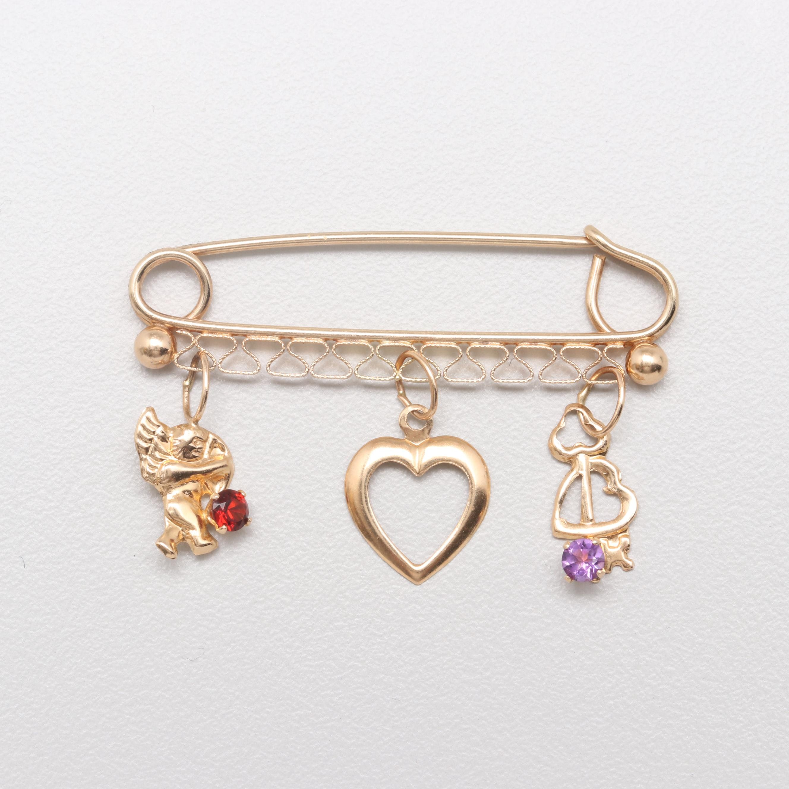 14K Yellow Gold Garnet and Amethyst Safety Pin