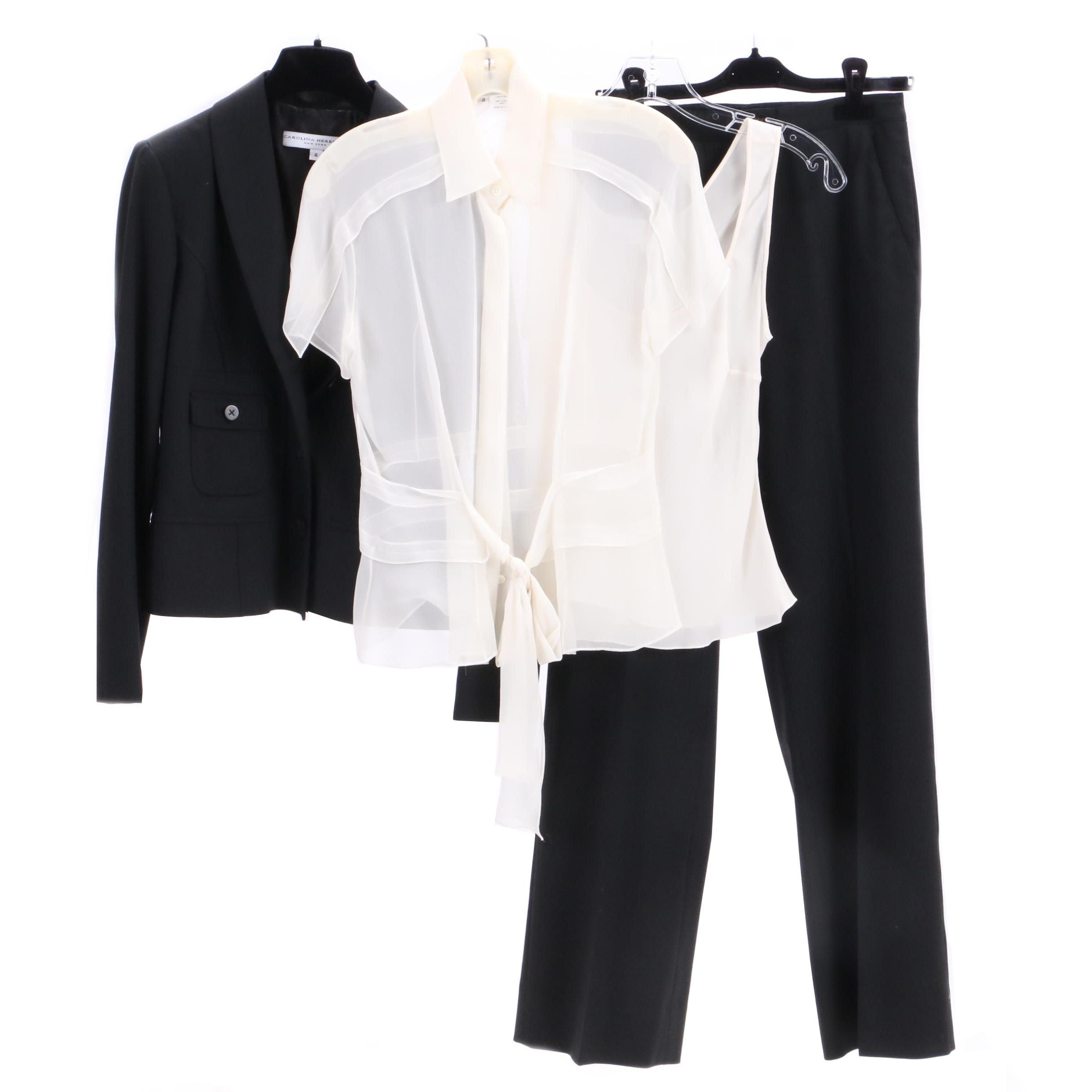 Carolina Herrera Wool Blend Suit with Silk Blouses