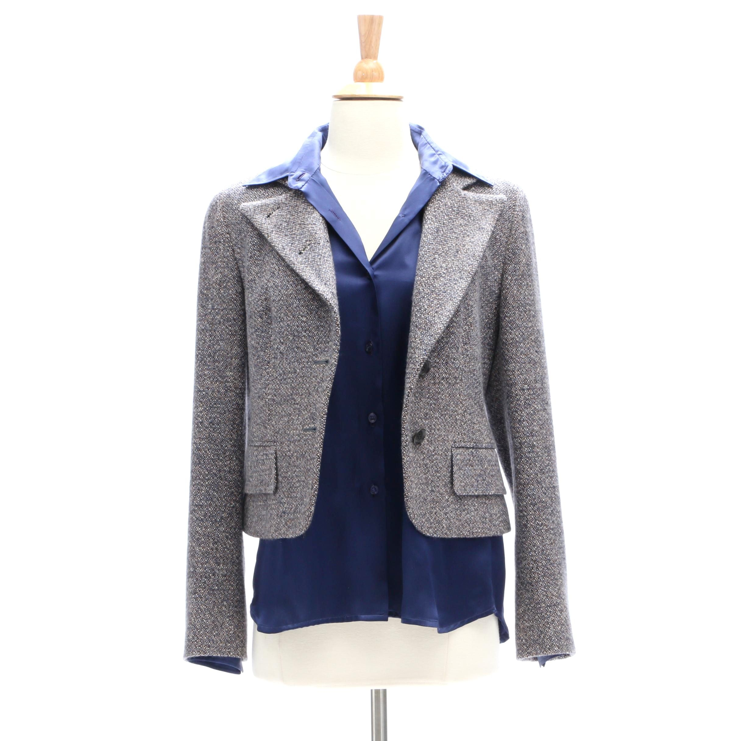 Women's Kiton Cashmere Tweed Jacket and Silk Blouse