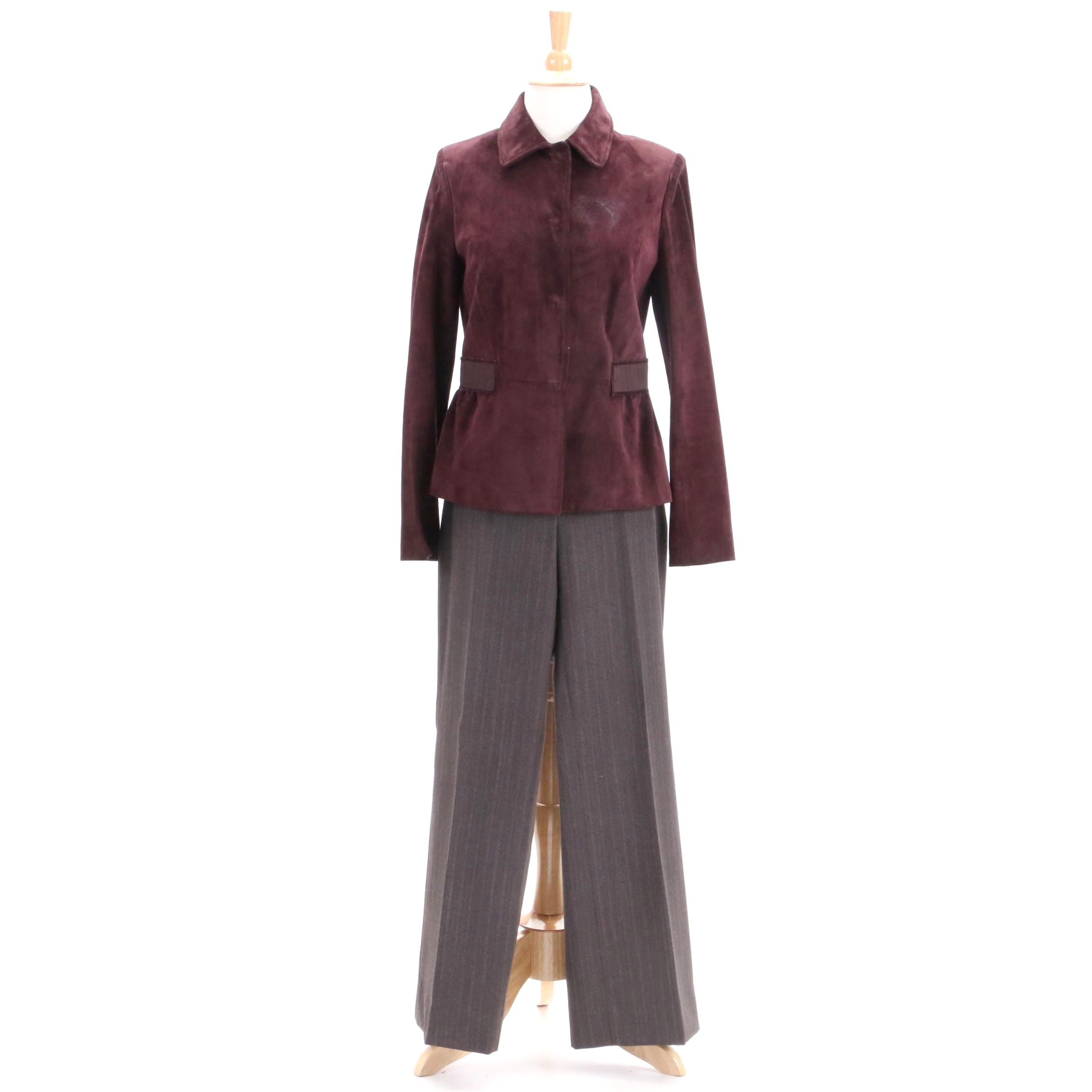 Women's Kiton Leather Jacket and Wool Trousers