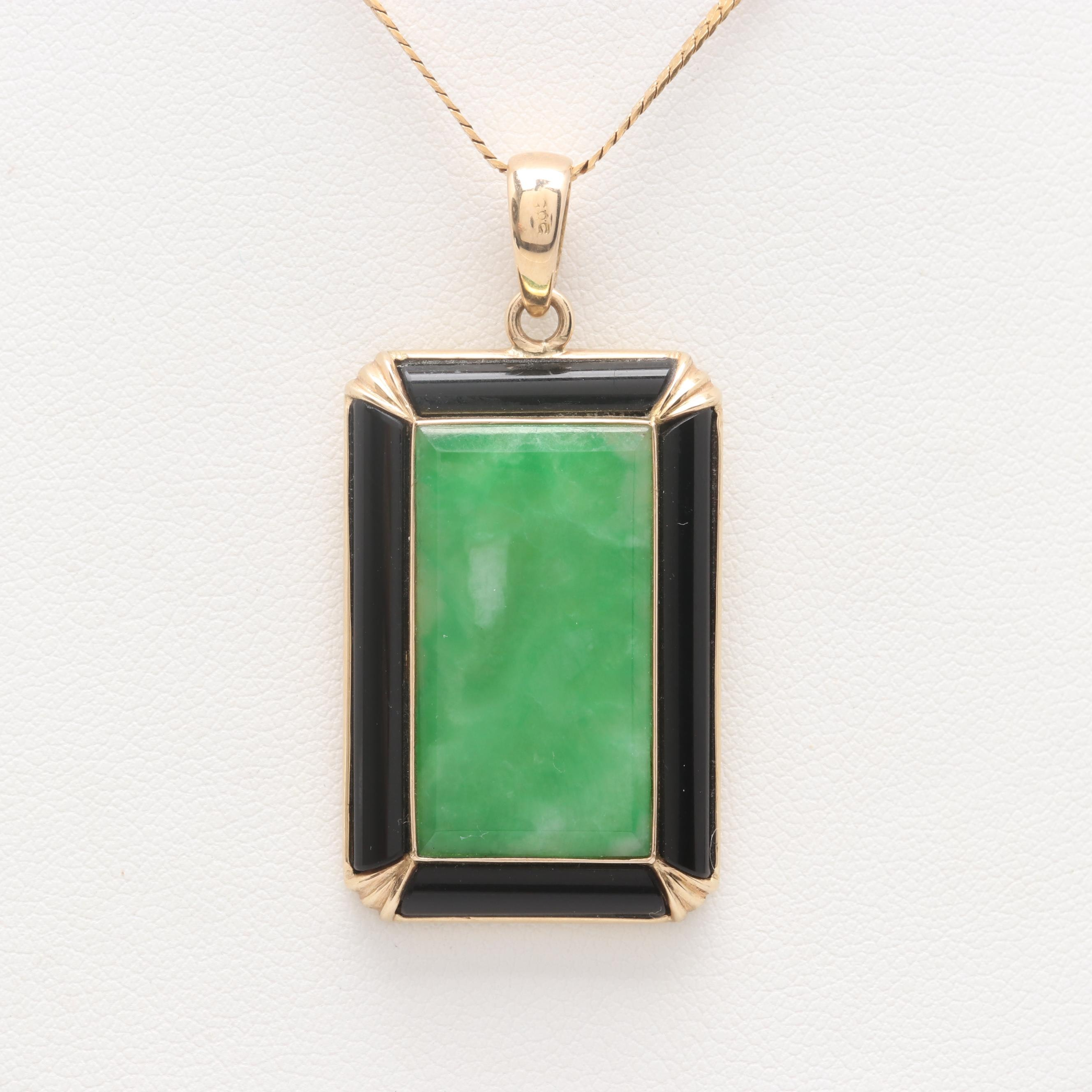14K and 18K Yellow Gold Jadeite and Black Onyx Pendant Necklace