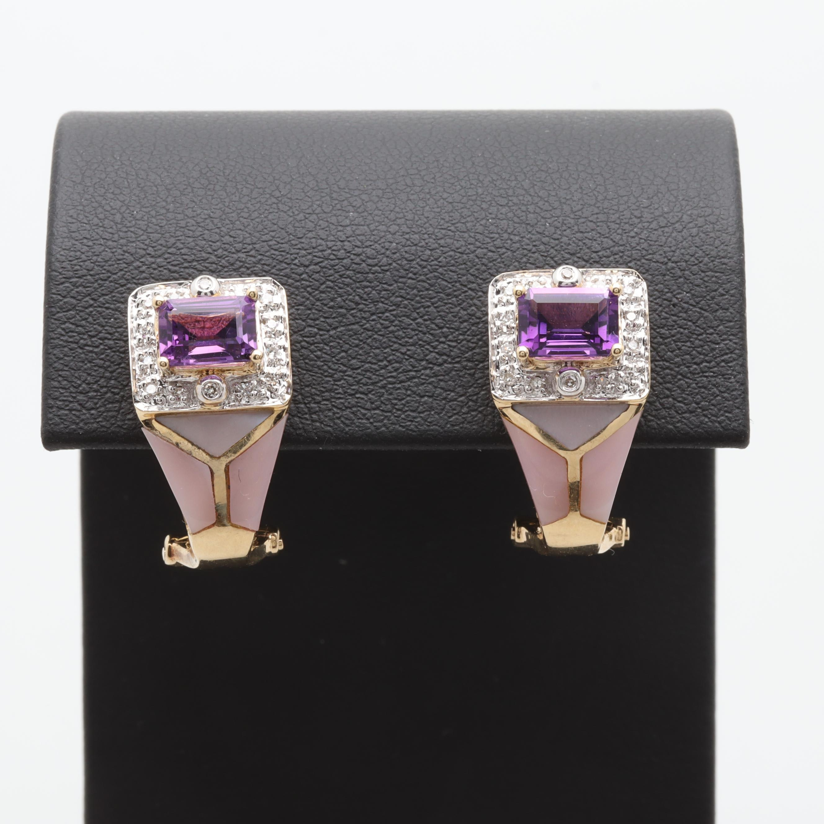 14K Yellow Gold Amethyst, Diamond and Mother of Pearl Earrings