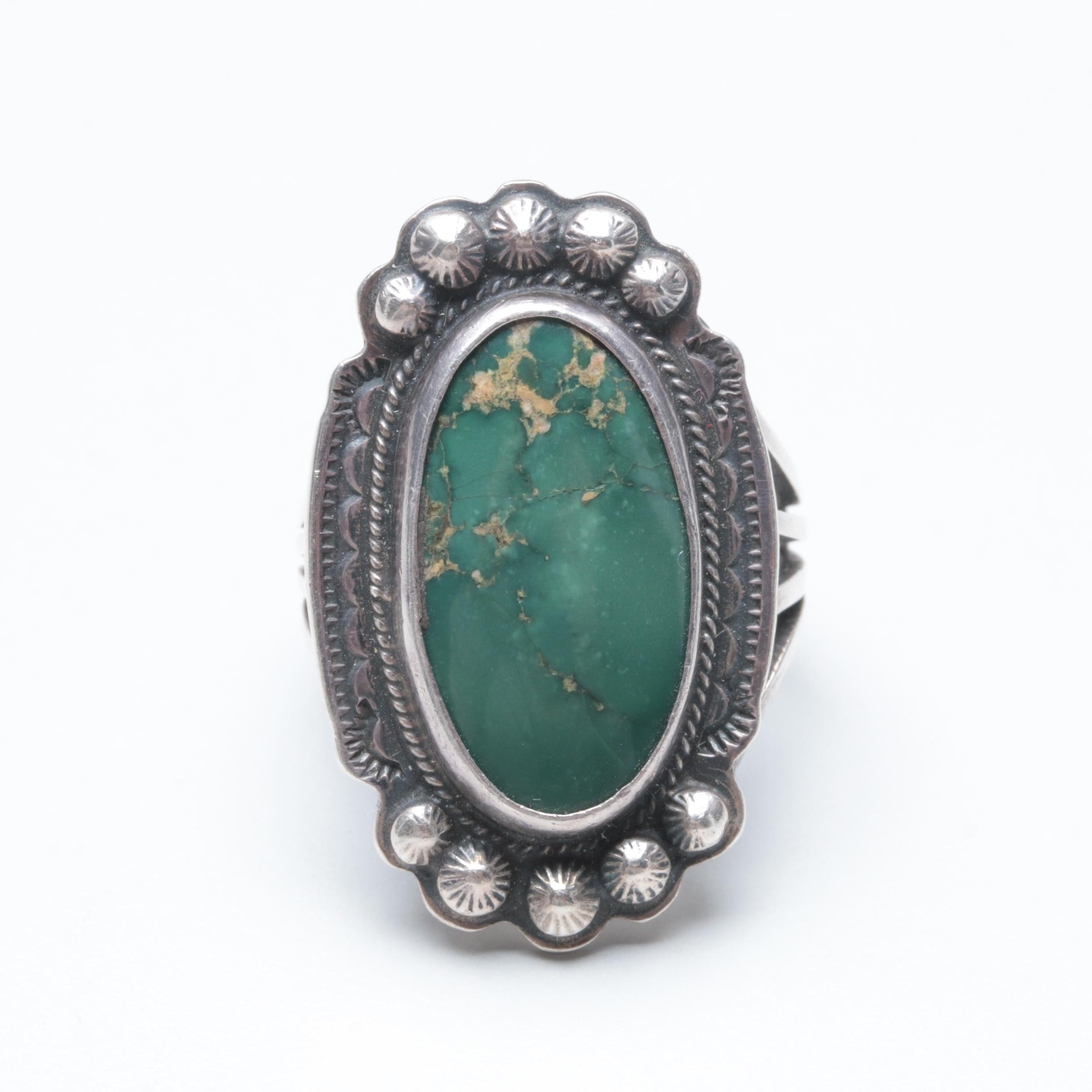 Al Somers Apache and Blackfoot Sterling Silver Turquoise Ring