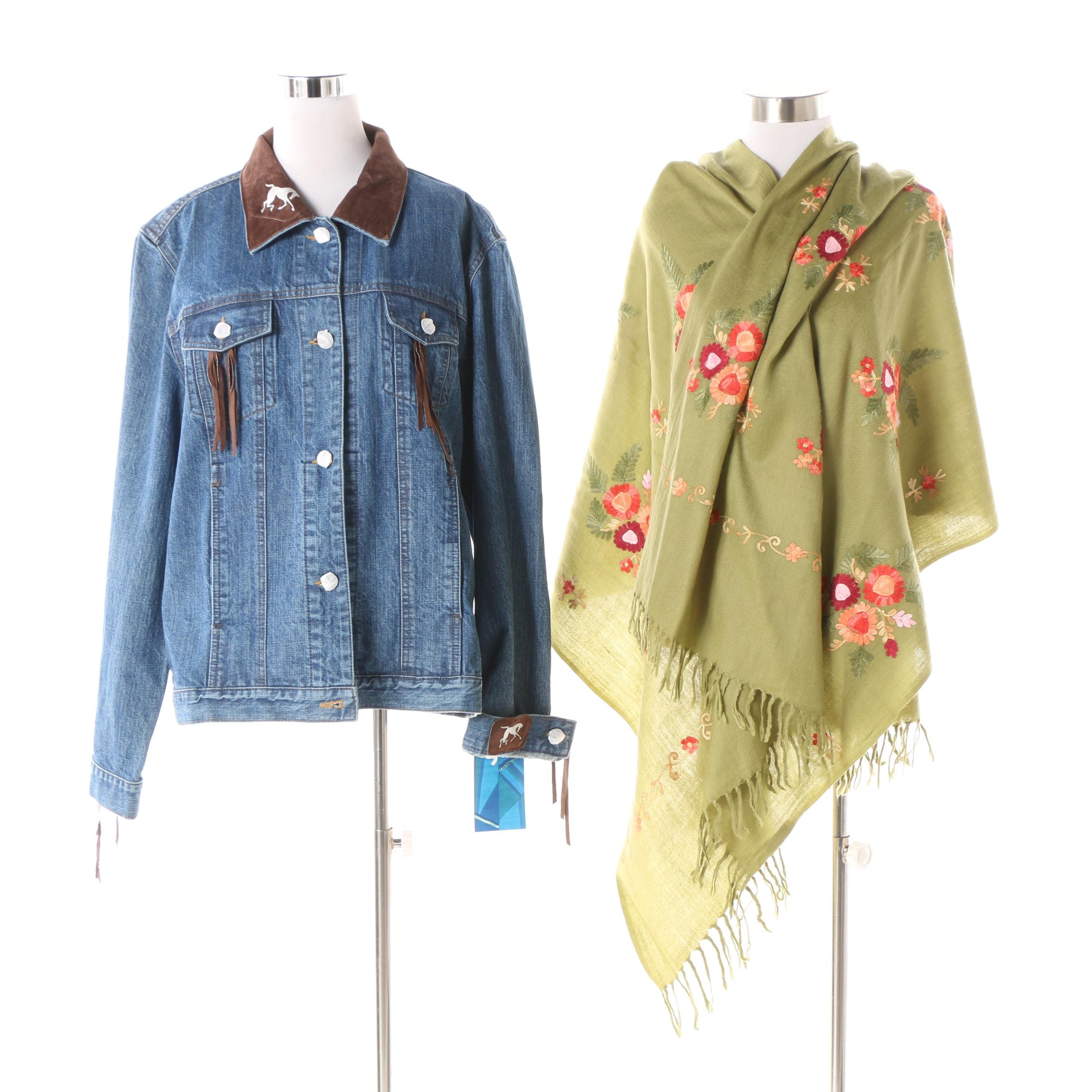 Women's Santa Fe Re-Creations Denim Jacket with Embroidered Wool Scarf